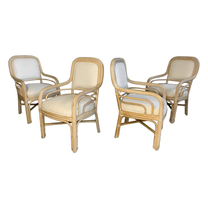 Set of Four Twisted Rattan Dining Chairs