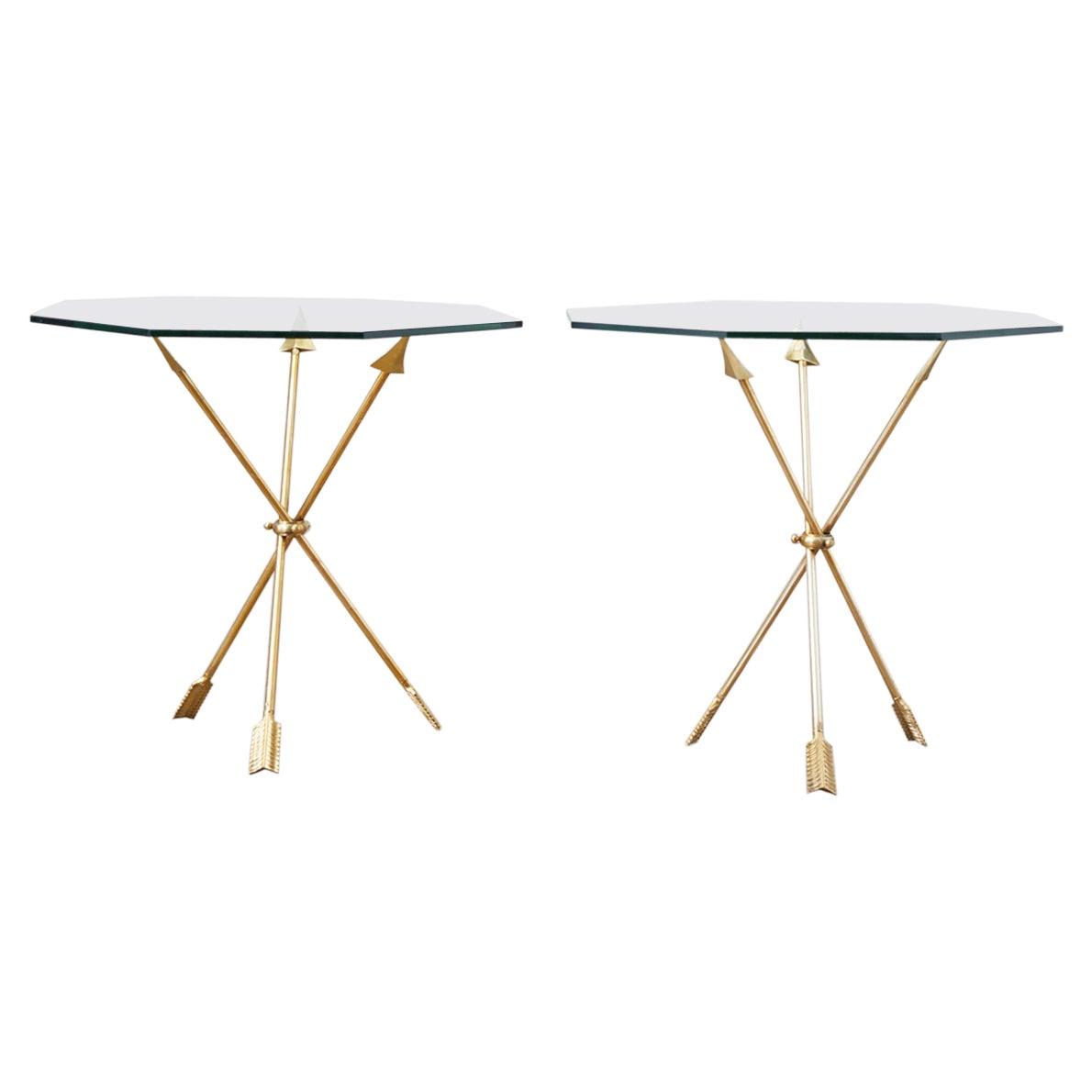 Pair of Maison Jansen Style Directoire Arrow Drink Tables