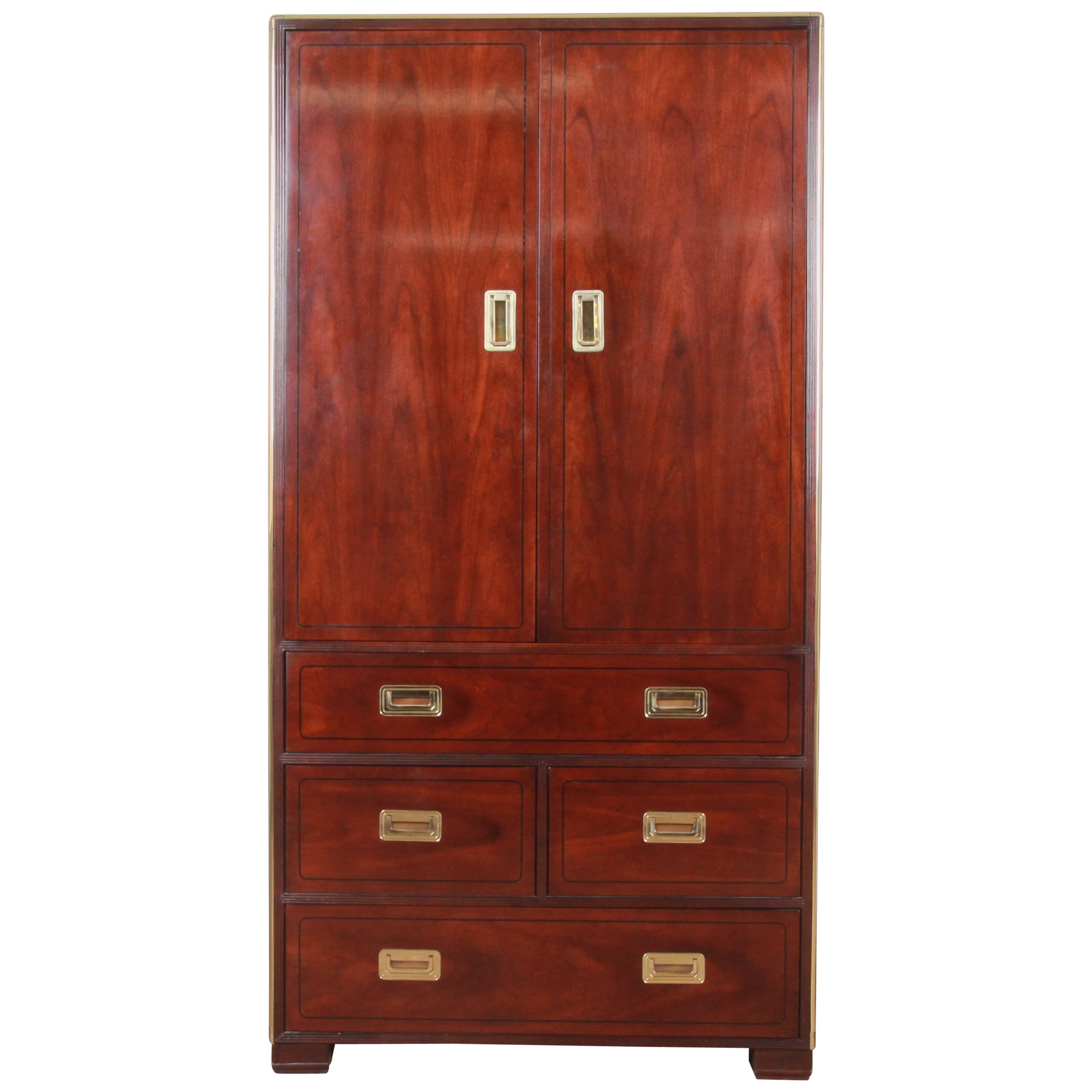 Baker Furniture Hollywood Regency Campaign Cherry and Brass Armoire Dresser