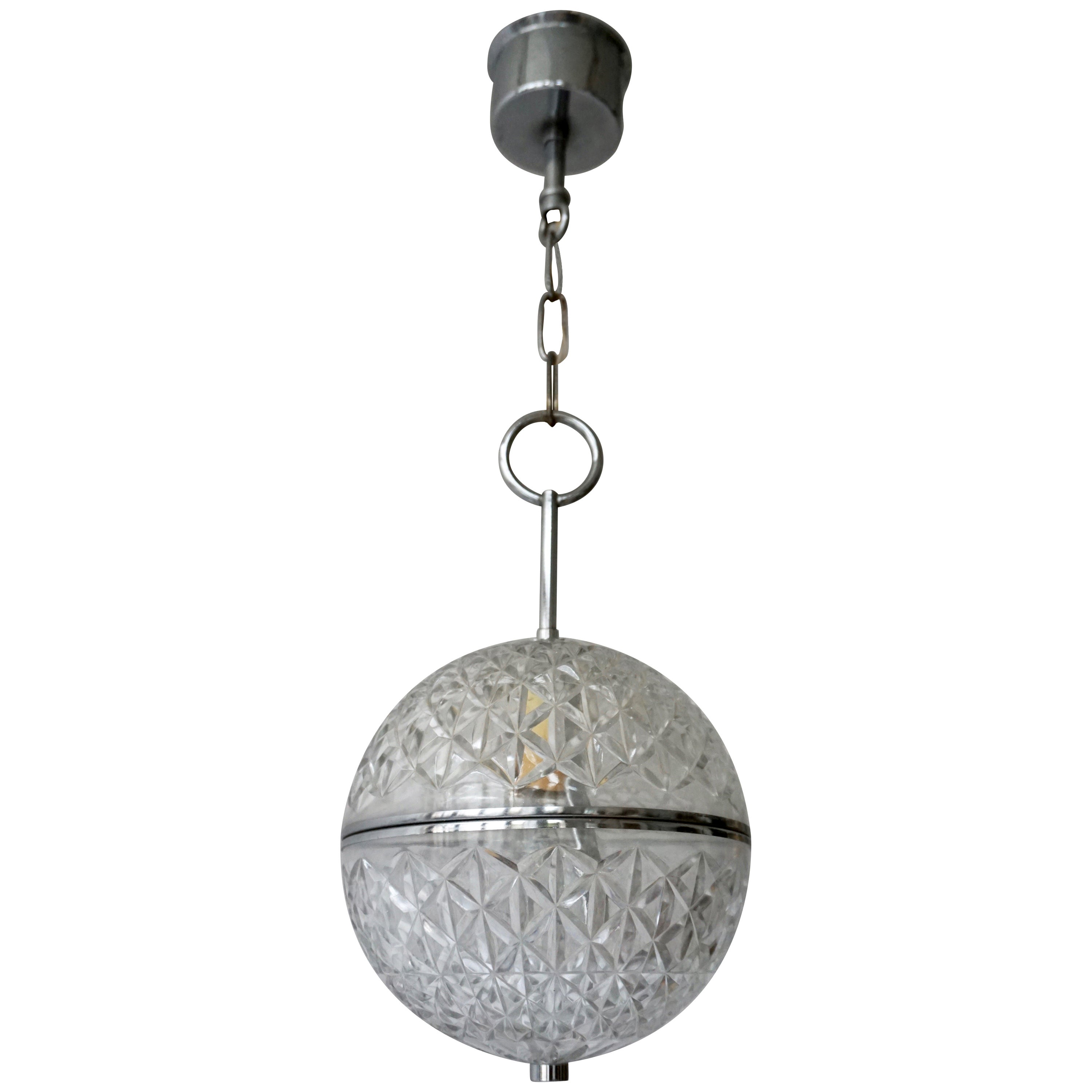 One of Two Crystal Glass and Brass Globe Pendant Lights