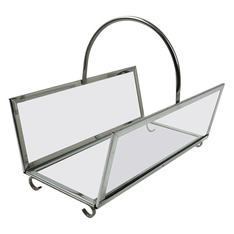 Modernist Glass and Chrome Log Holder