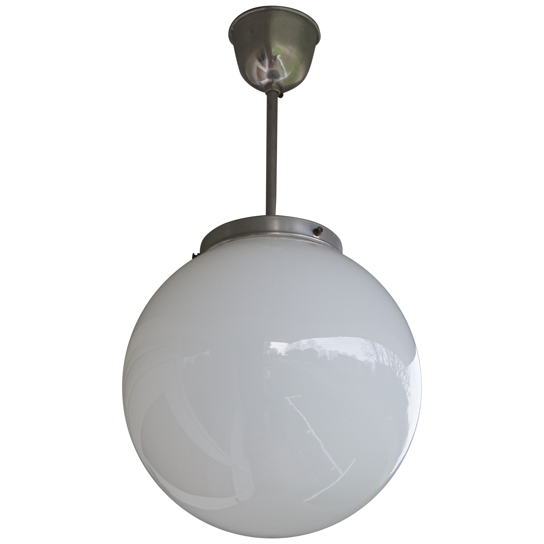 Rare Set of Three Midcentury Modern Chrome & Opaline Glass Globe Pendant Lights