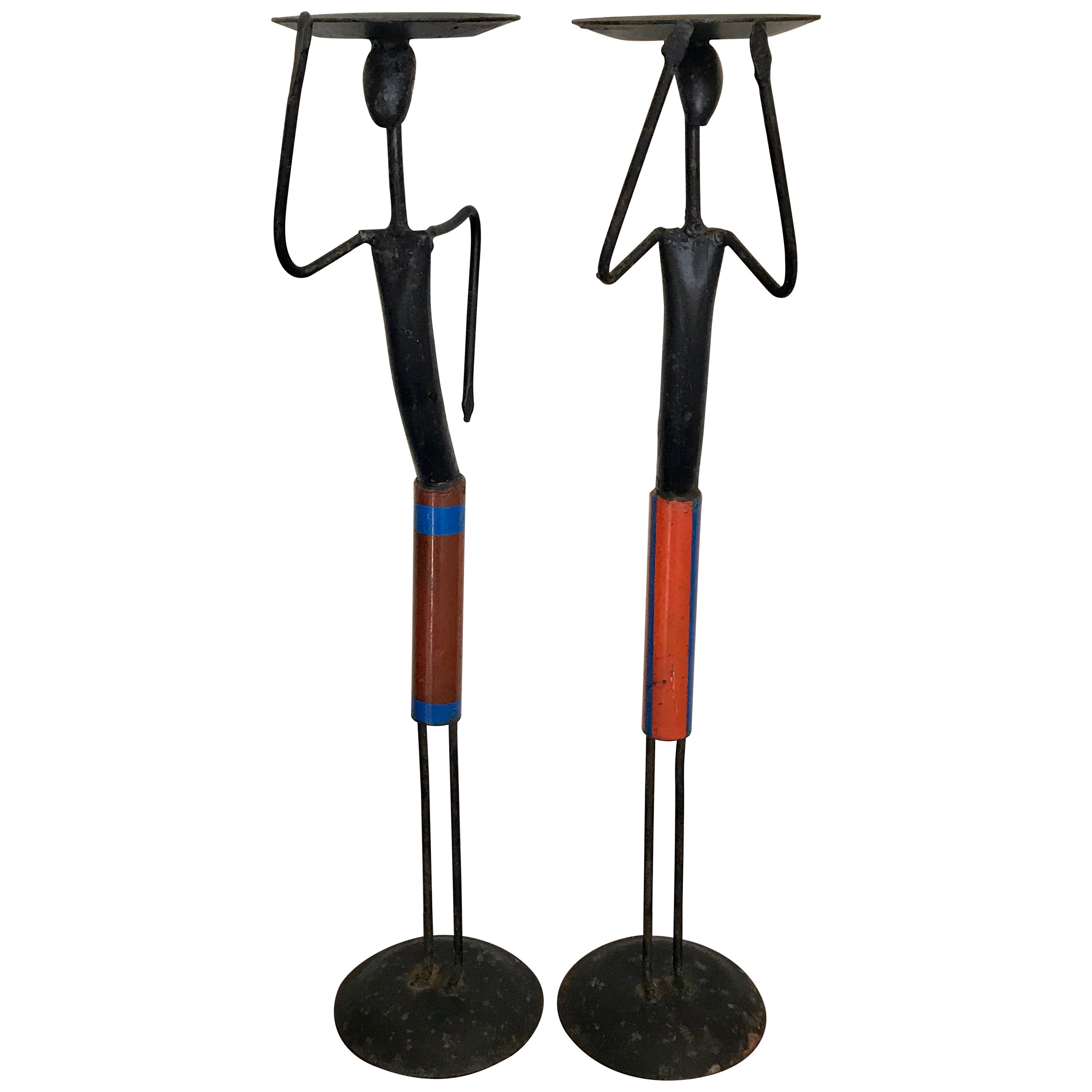 Pair of Mid-Century Modern Figurative Wrought Iron Candleholders, 1960s