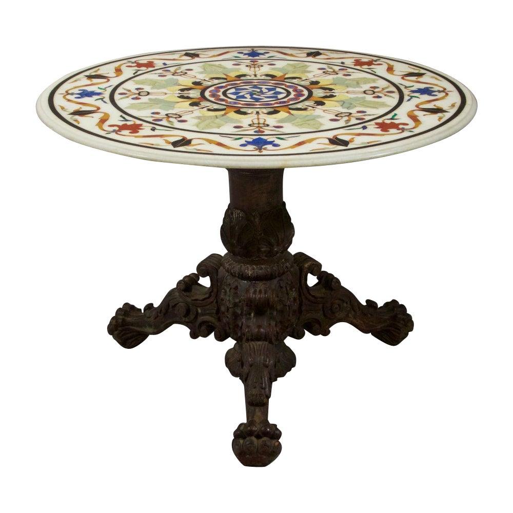 Specimen Pietra Dura Inlaid Marble Center Table