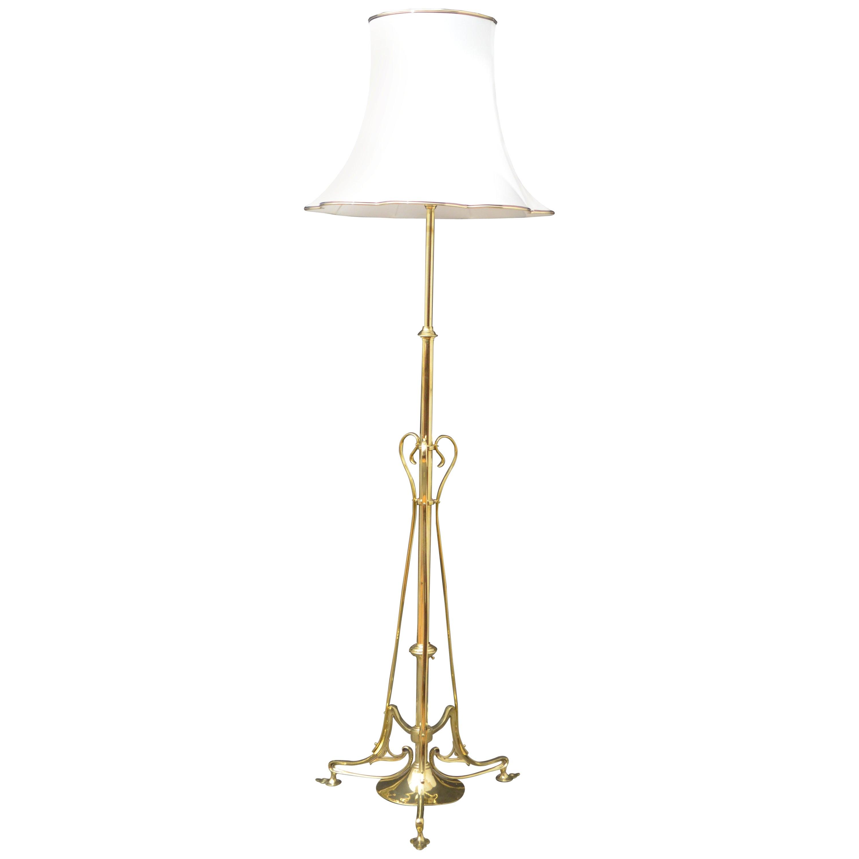 Art Nouveau Brass Floor Lamp