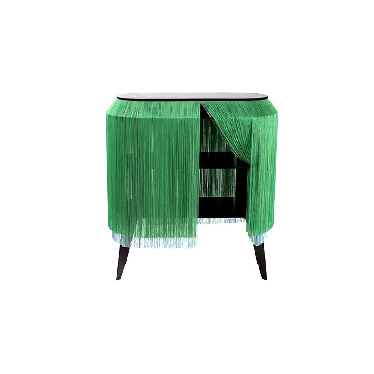 Green Fringe Side Table / Nightstand, Made in France