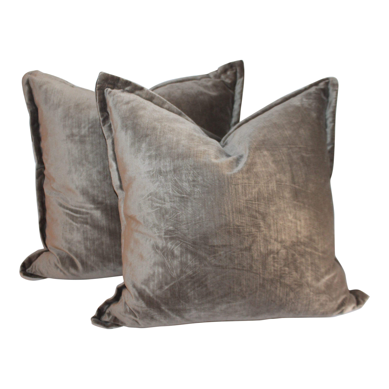 Sage Green / Grey Silk Velvet Pillows, Pair
