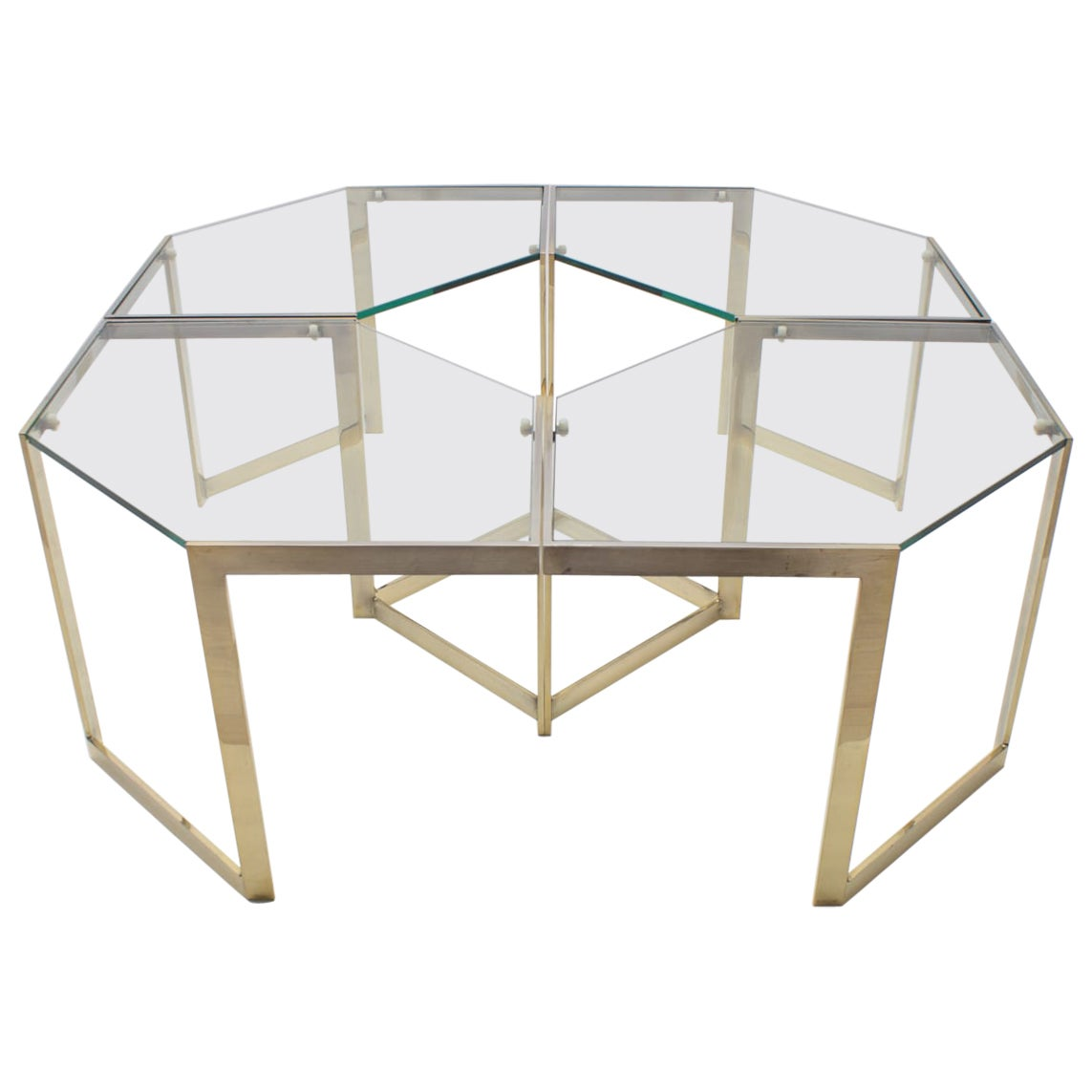 Lovely Set of 4 Brass Modular Side Tables, France, 1960s