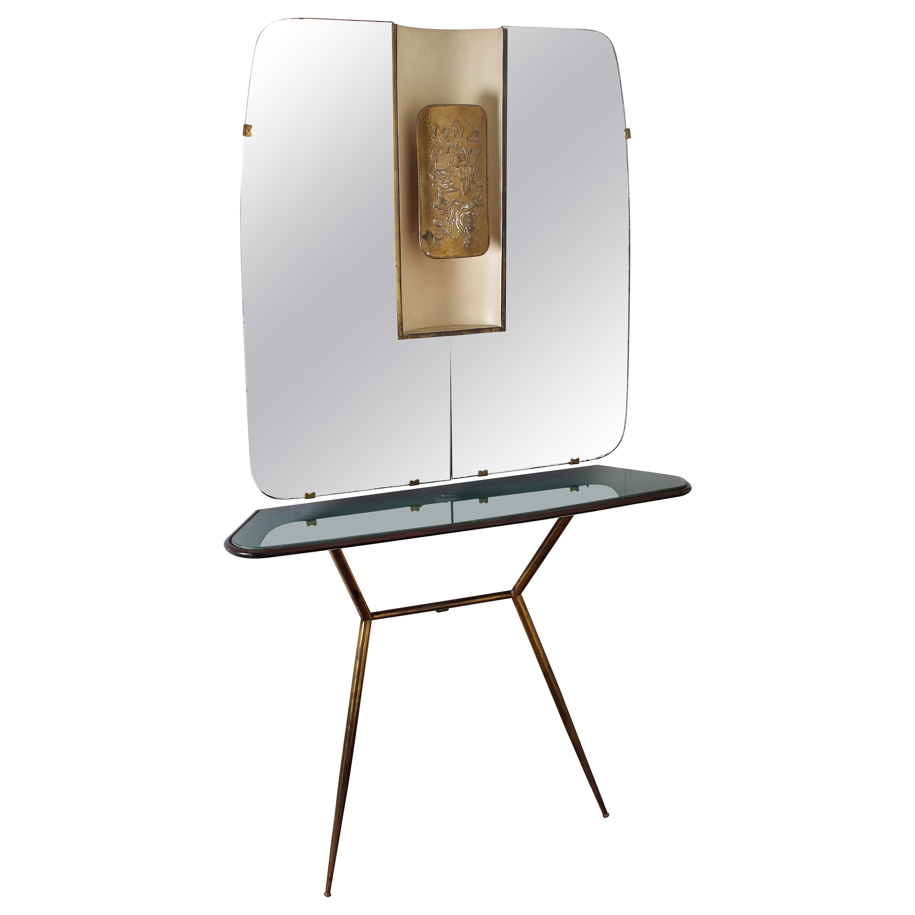Brass Wooden and Green Glass Cristal Art Console with Wall Mirror, 1960s, Italy