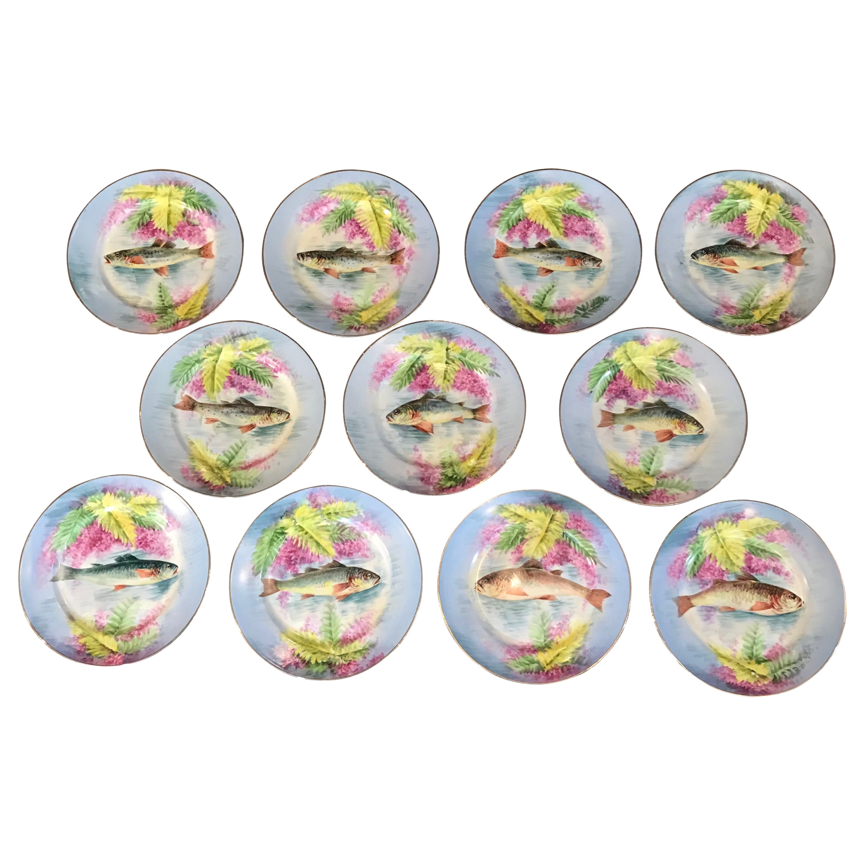 Set of 11 Limoges B.R Hand Painted Fish Plates