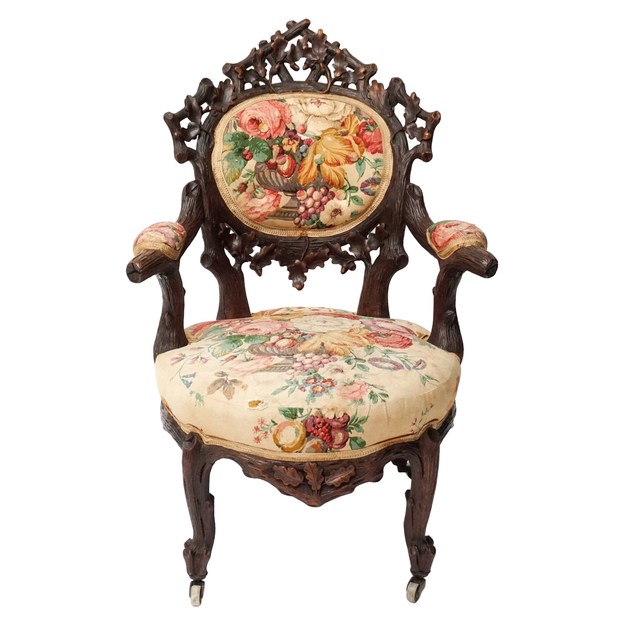 19th Century Black Forest Carved Walnut and Fabric Upholstered Armchair