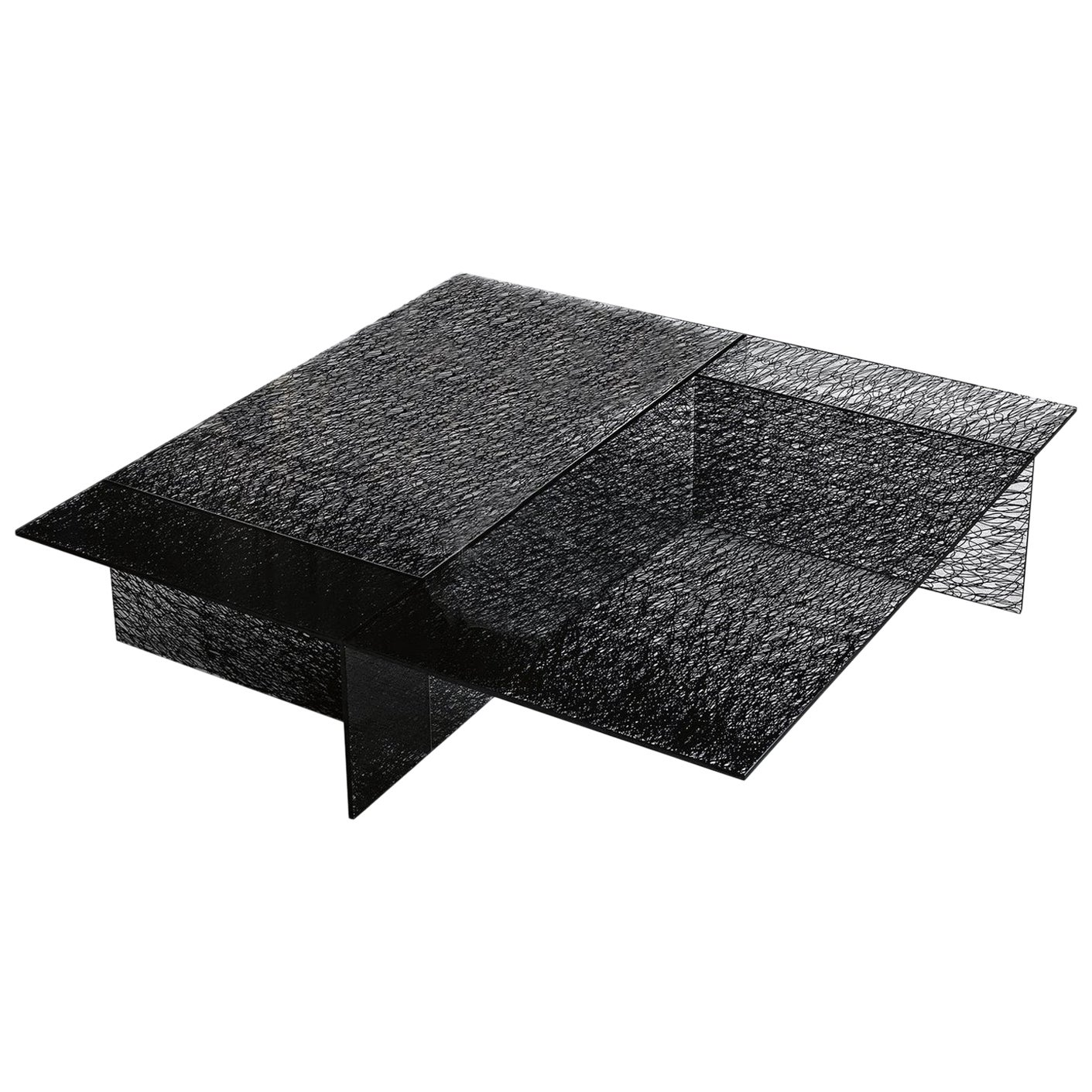 In Stock in Los Angeles, Sestante Black Glass Coffee Table, Made in Italy