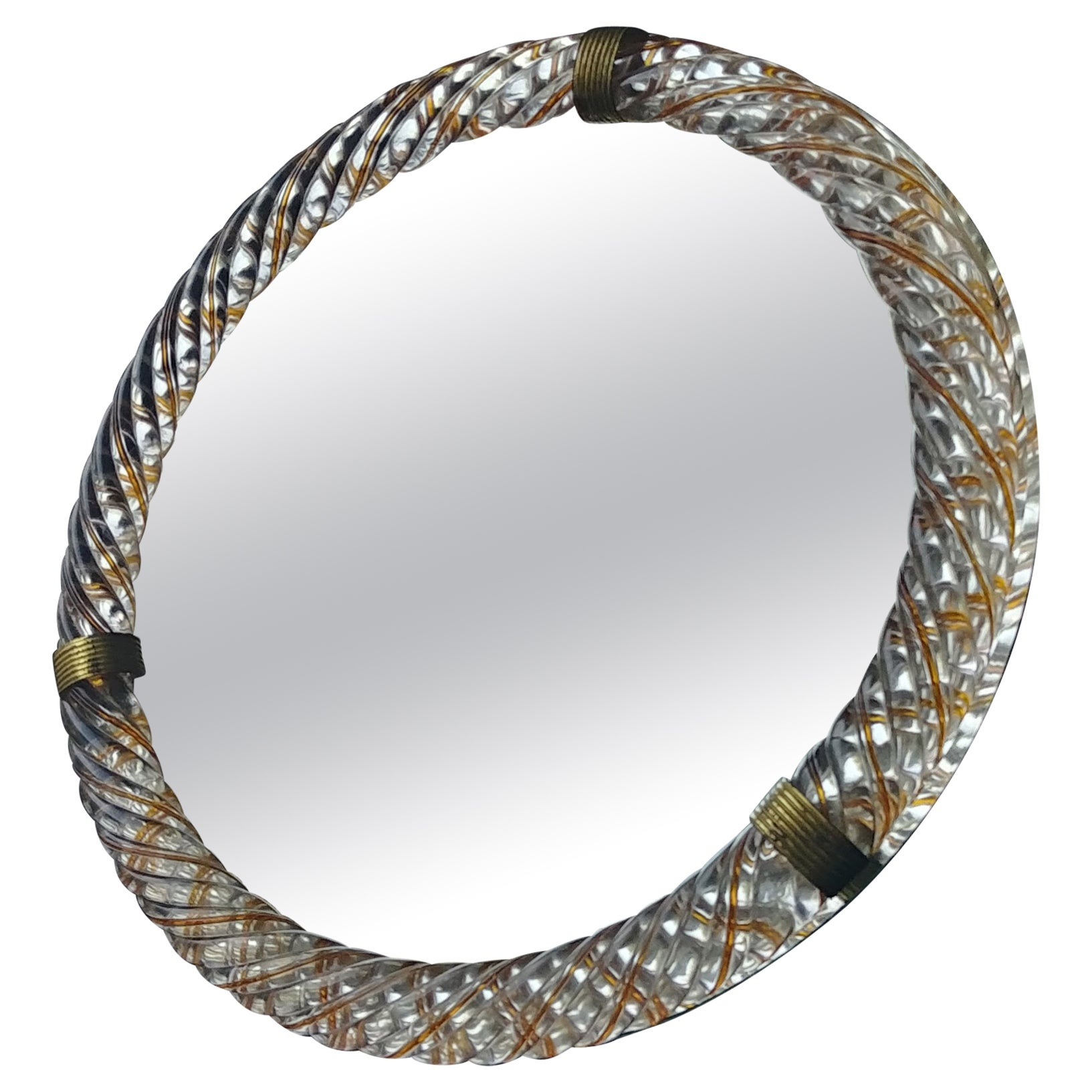 Barovier & Toso, Threaded Yellow/Gold Murano Glass Wall/Table, Vanity Mirror