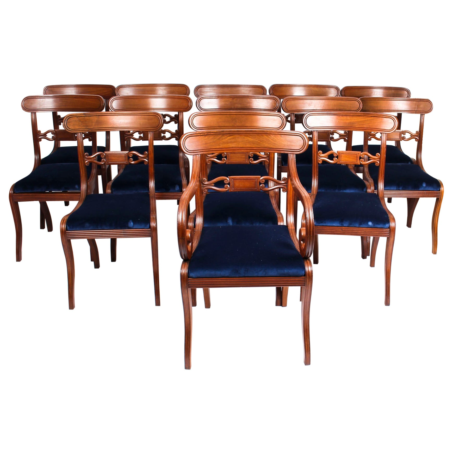 Antique Set of 14 Regency Mahogany Dining Chairs, 19th Century