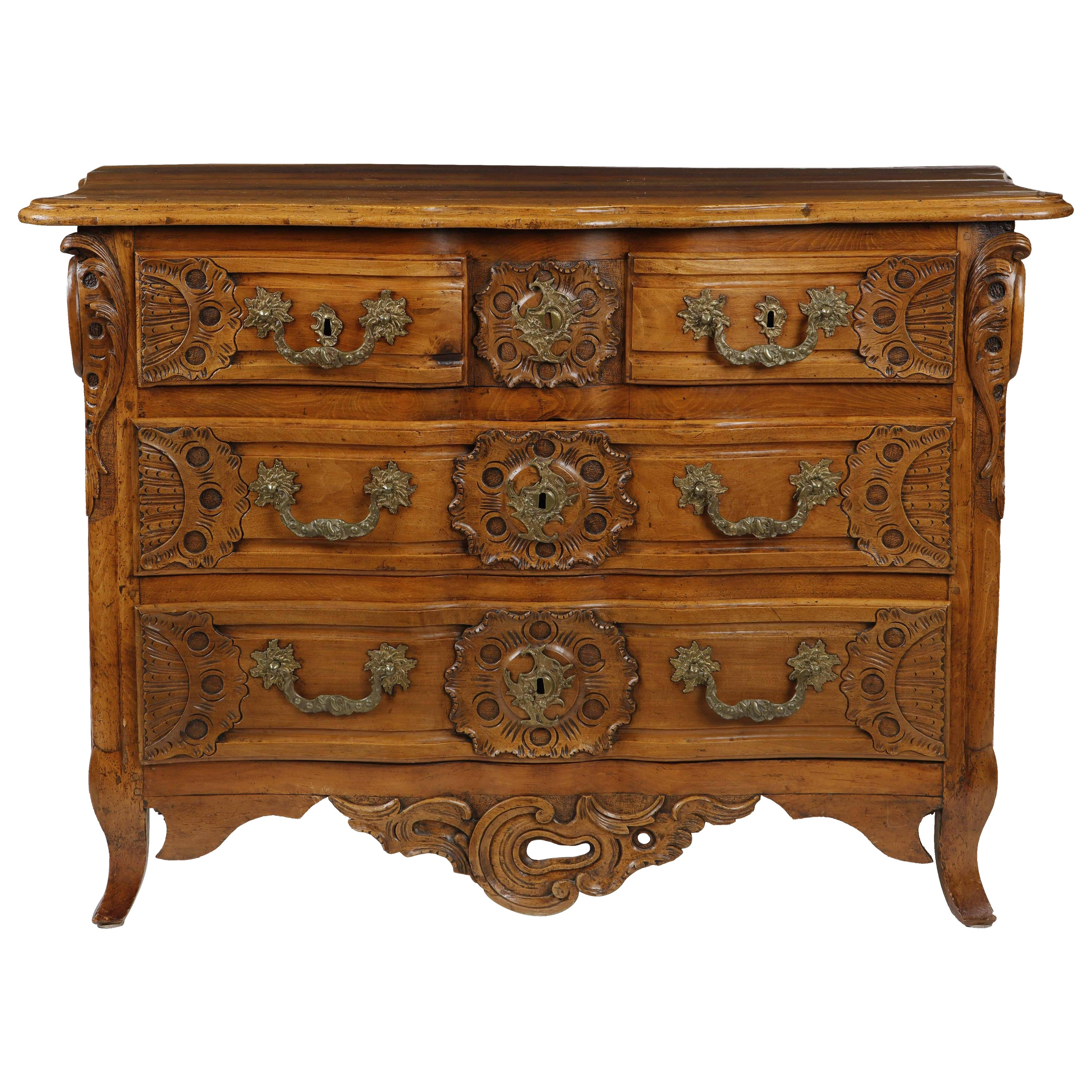 Louis XV Carved Walnut Commode, 18th Century