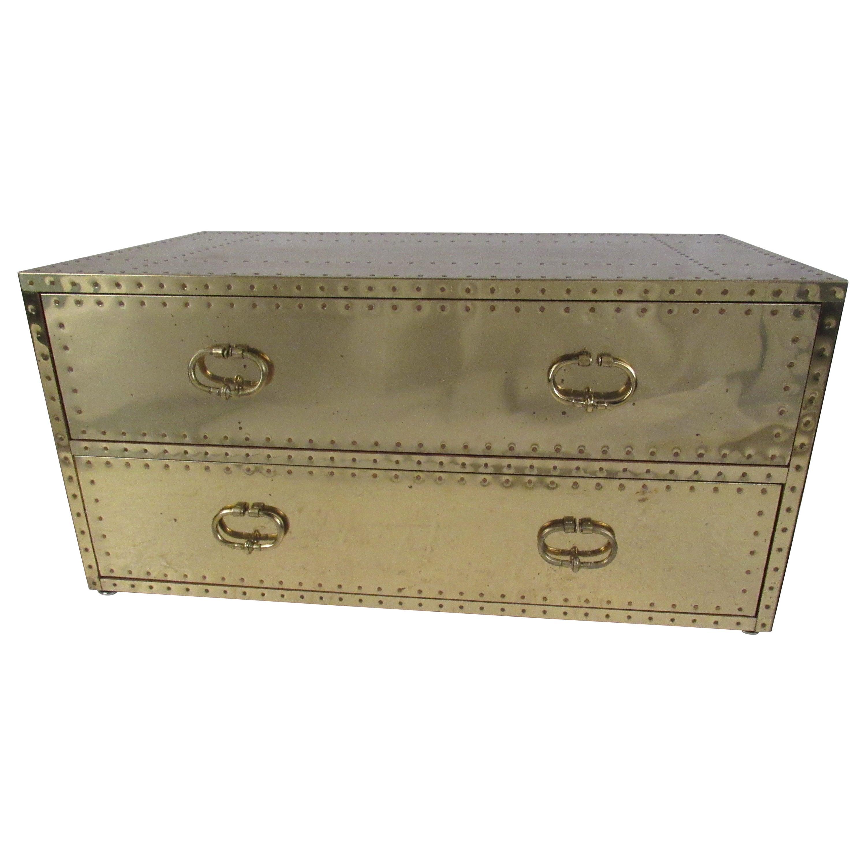 Mid-Century Modern Brass Two-Drawer Sarreid Ltd Chest