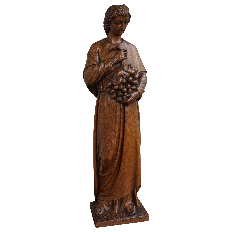 Antique Hand Carved Oakwood Church Sculpture of a Saint Holding a Grape Bunch
