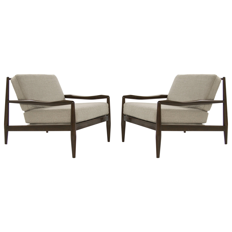 Adrian Pearsall Walnut Lounge Chairs, Model 834-C, circa 1950s