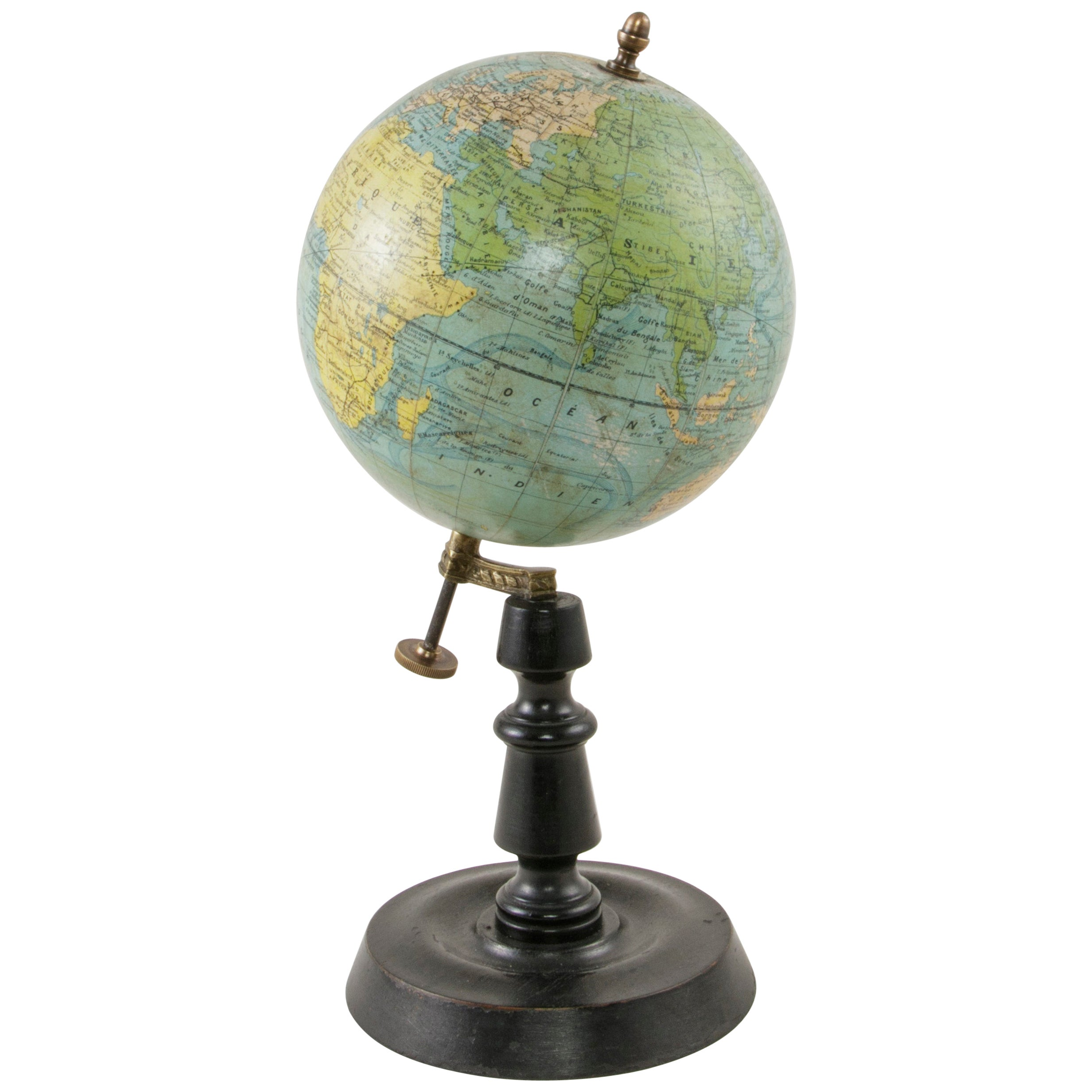 French Terrestrial Globe on Ebonized Wooden Base by Cartographer J. Forest