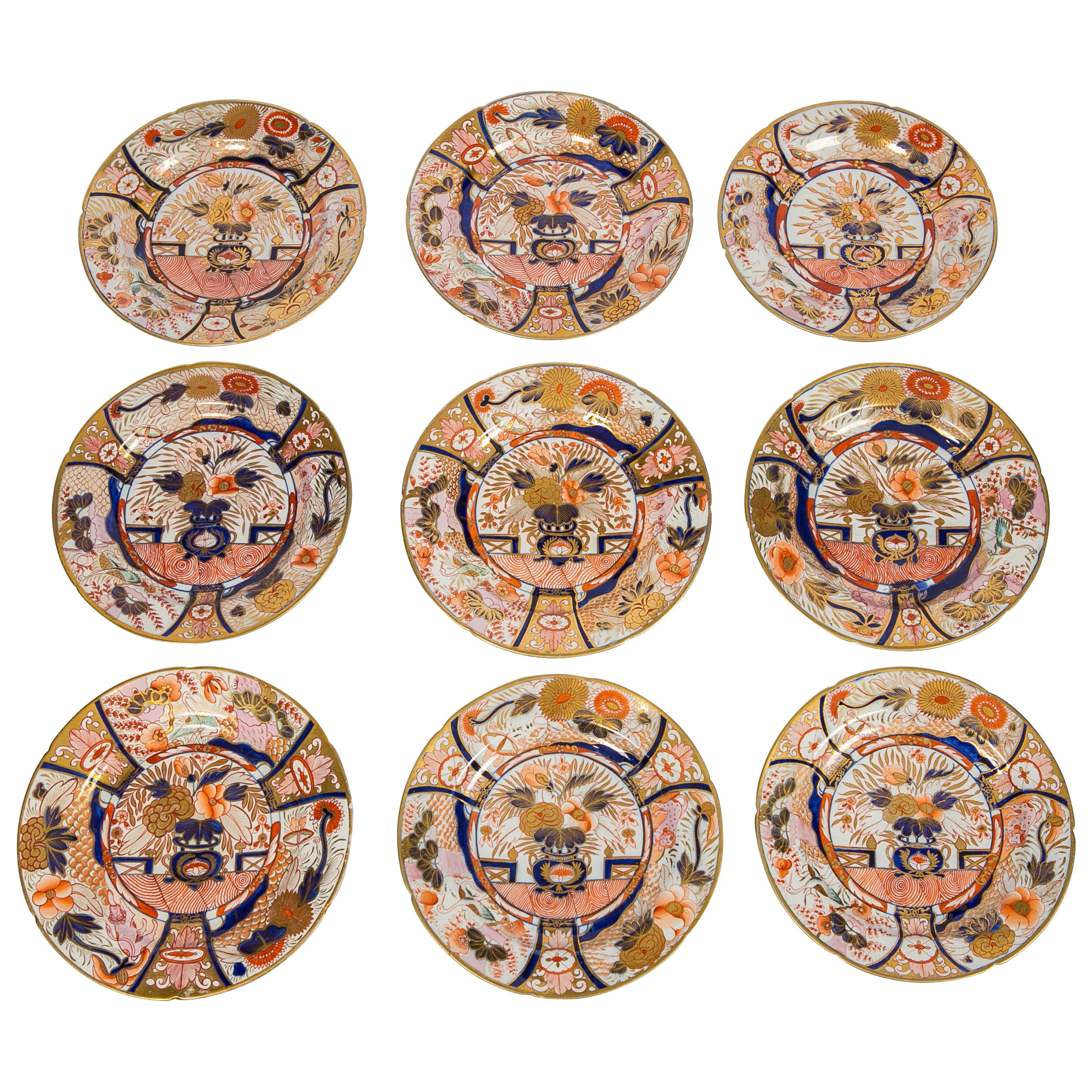 Set of Twelve Imari Admiral Nelson Pattern Plates Made by Coalport, circa 1810
