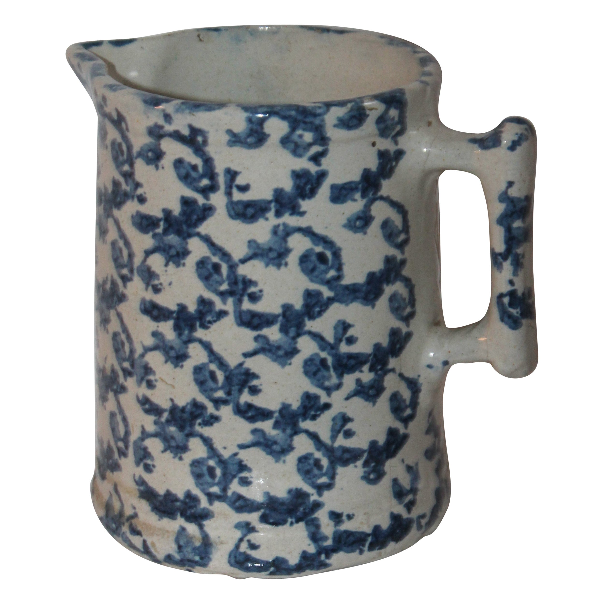 19th Century Sponge Ware Pitcher in Pattern Design