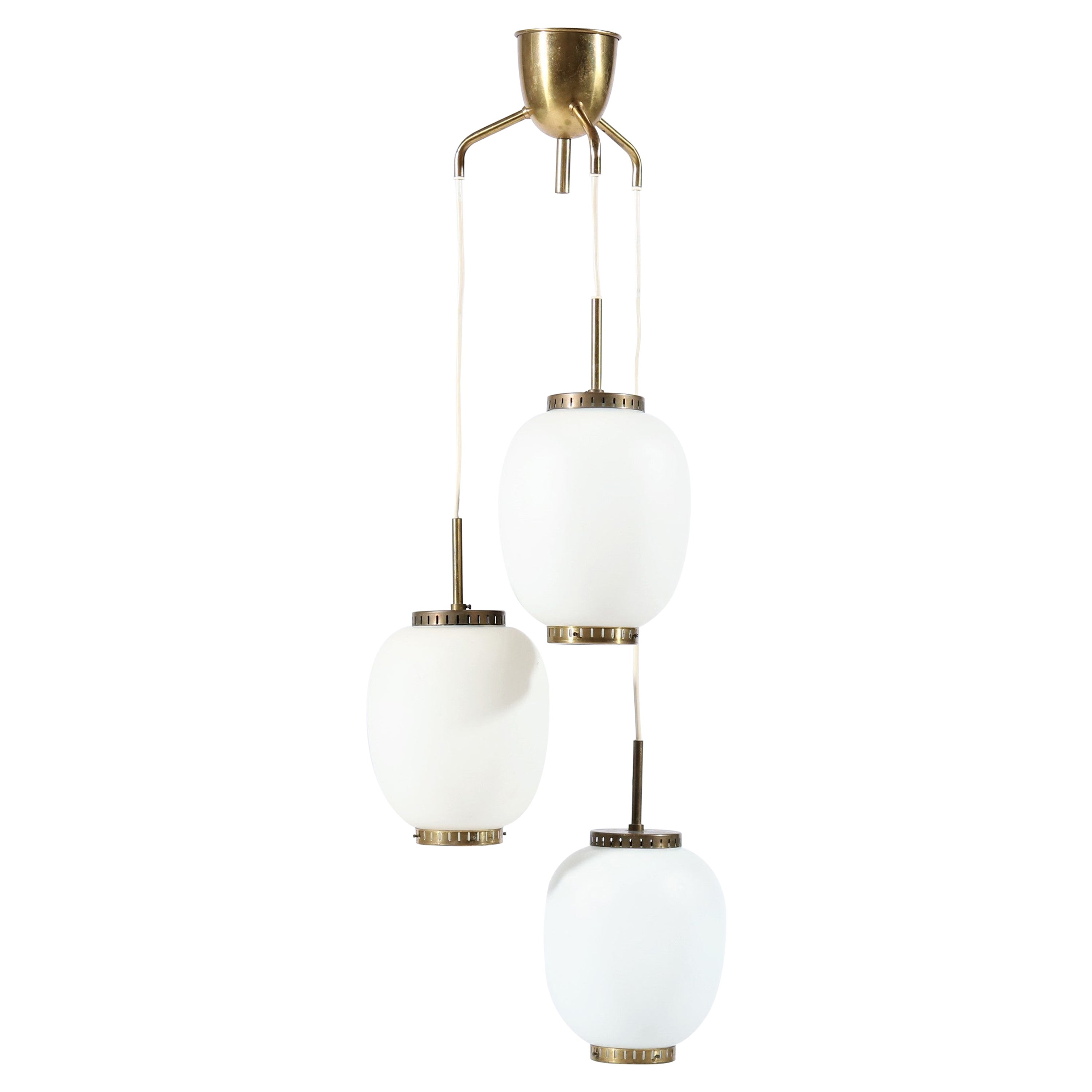 """Brass and Opal Glass """"China"""" Chandelier by Bent Karlby for Lyfa, Denmark, 1950s"""
