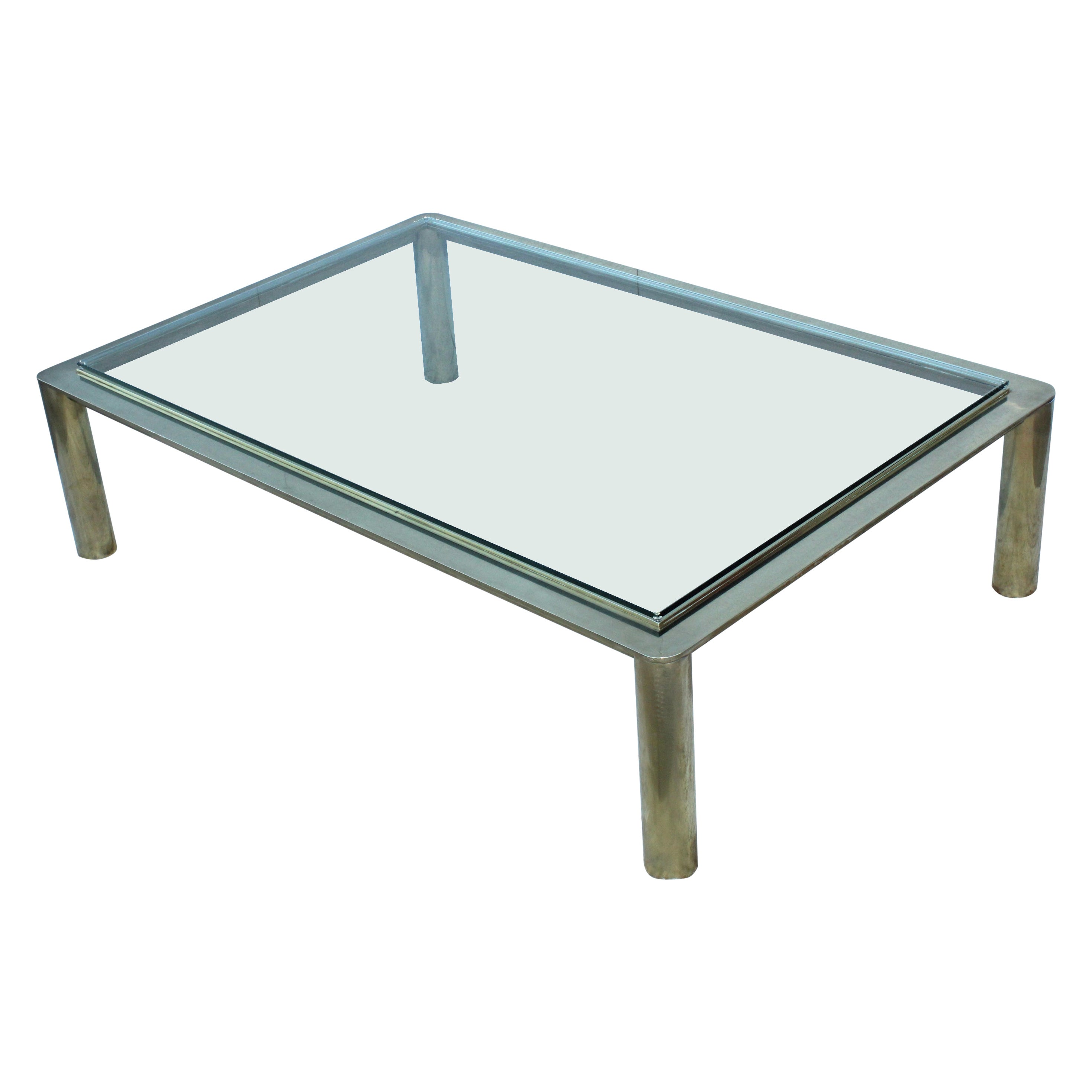 1970s Solid Brass Large Coffee Table