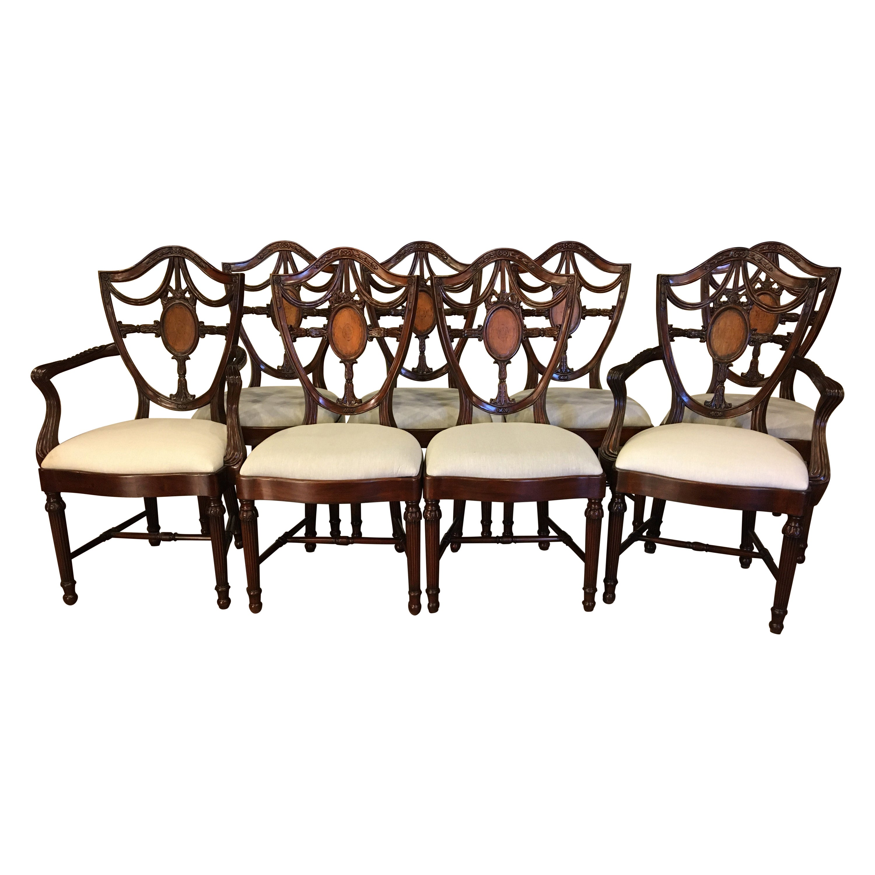 Eight New Traditional Mahogany Inlaid Shieldback Dining Chairs by Leighton Hall