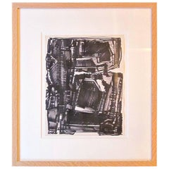 Mid-Century French Artist Maurice Morel Black and White Abstract Painting
