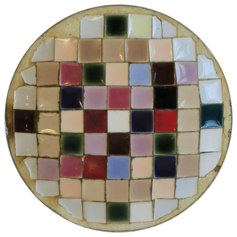 Mid-Century Modern Pastel Mosaic Ceramic Tile Dish