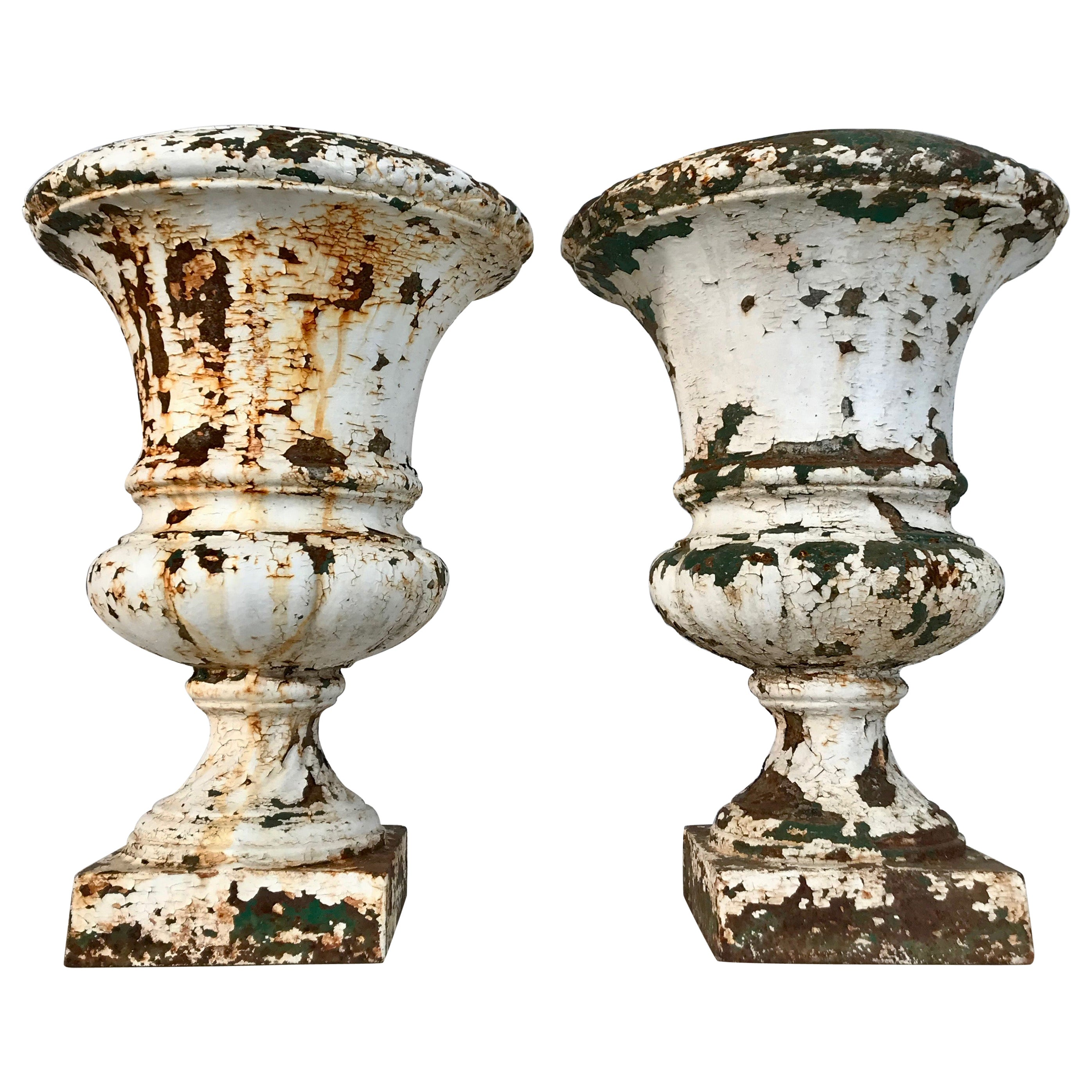 Pair of French 19th Century Cast Iron Medici Urns in Old Painted Surface