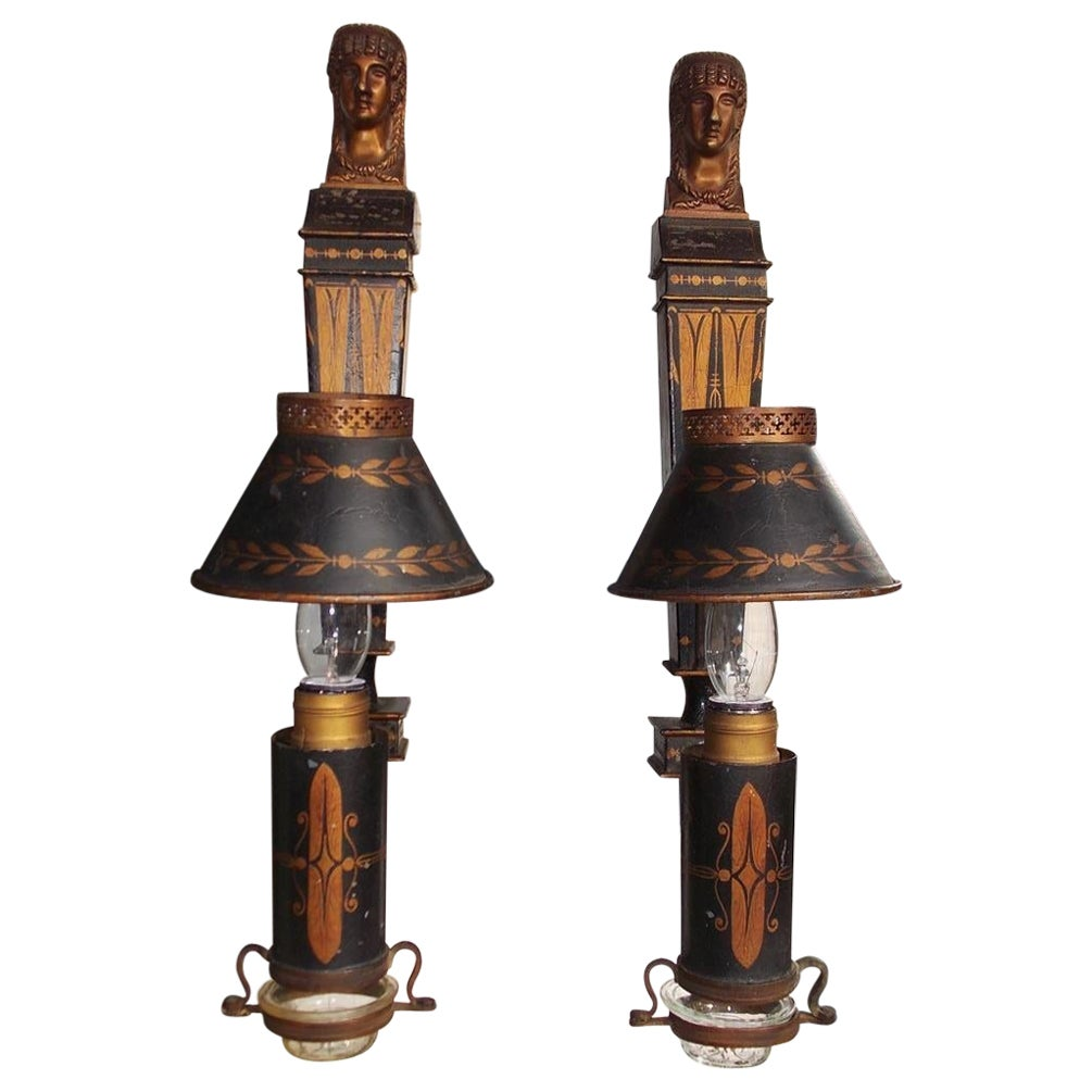 Pair of French Tole Gilt Stenciled Figural Wall Sconces with Shades, Circa 1830