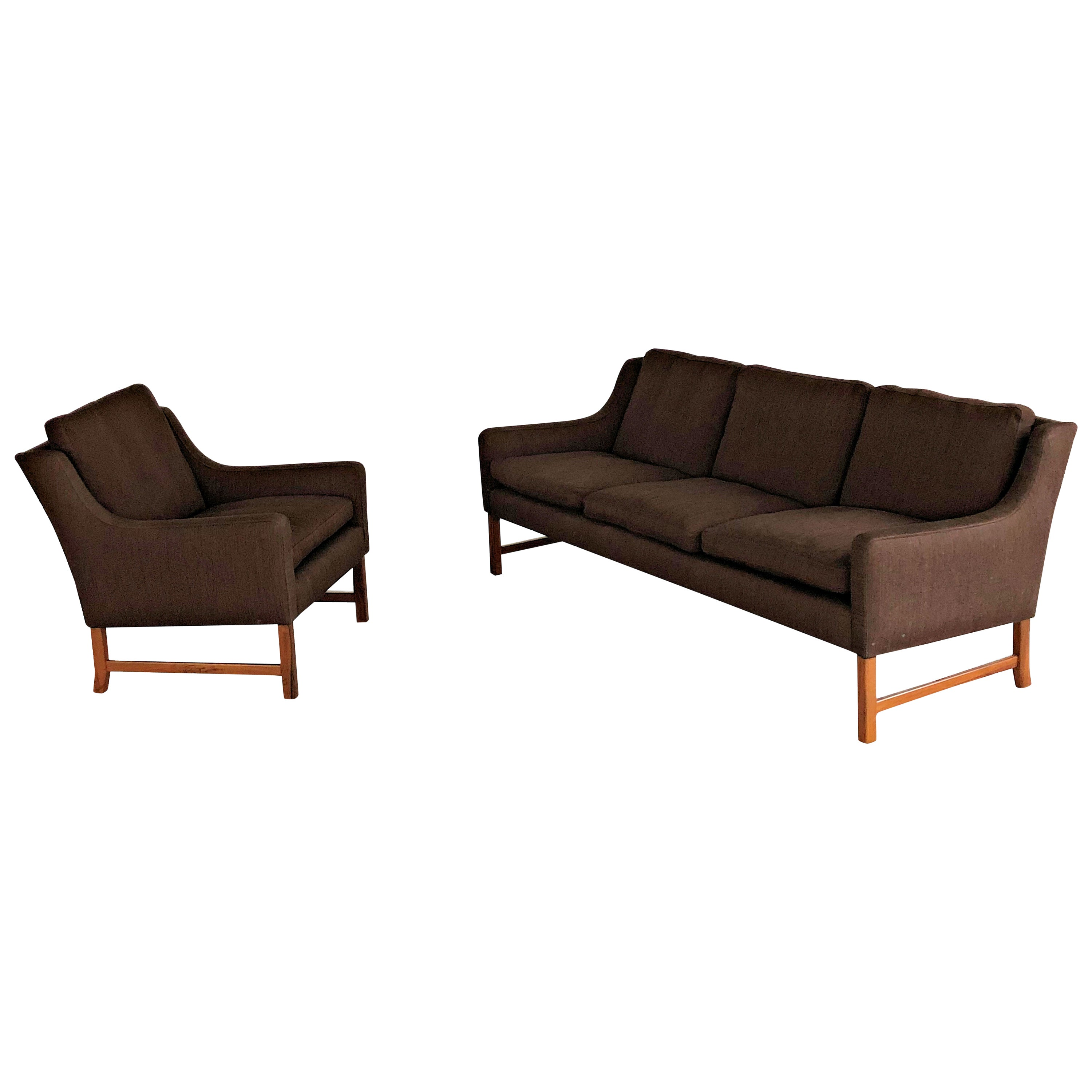 1960s Fredrik Kayser Rosewood Sofa and Lounge Chair by Vatne