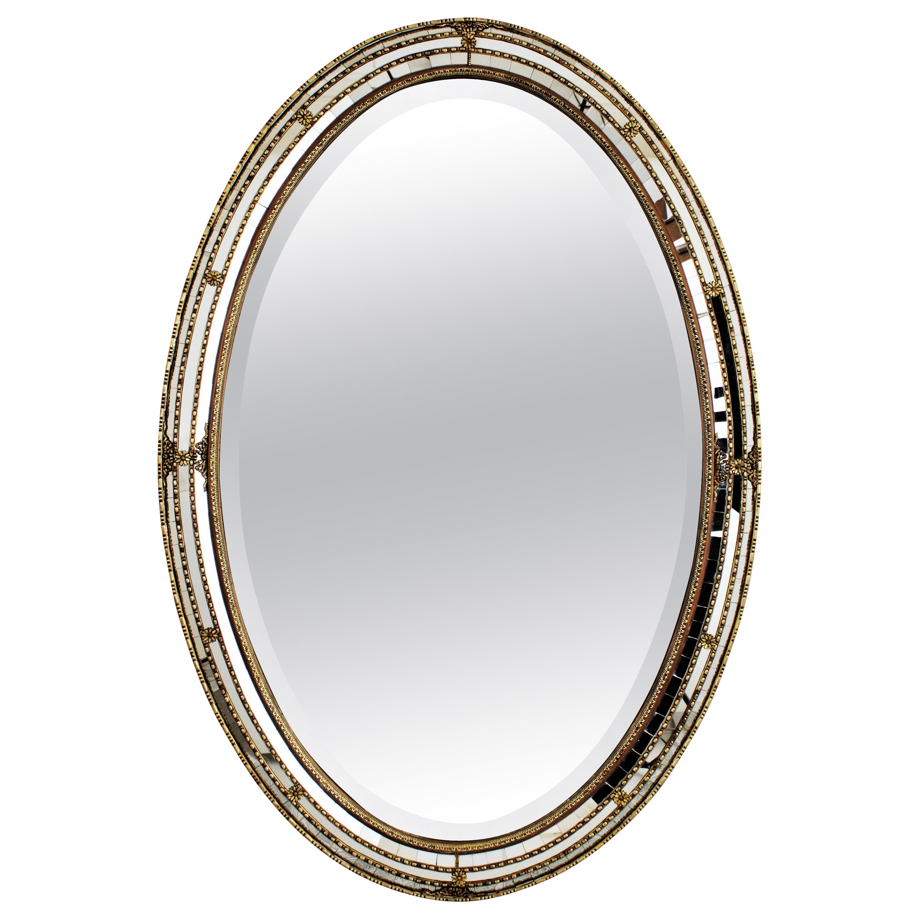 Spanish Venetian Style Oval Mirror with Beveled Glass and Brass Accents, 1950s