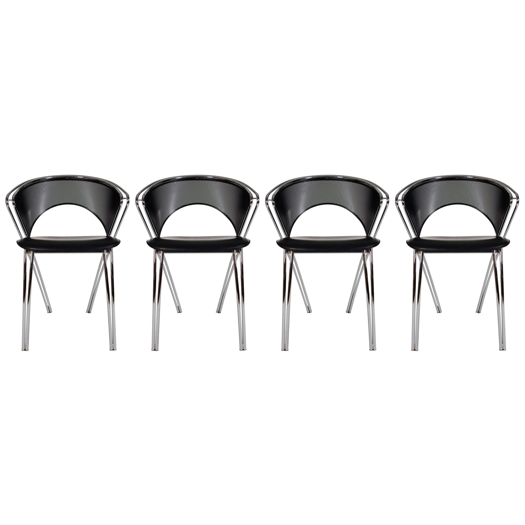 Set of Midcentury Italian Postmodern Black and Chrome Mesh Dining Chairs Set