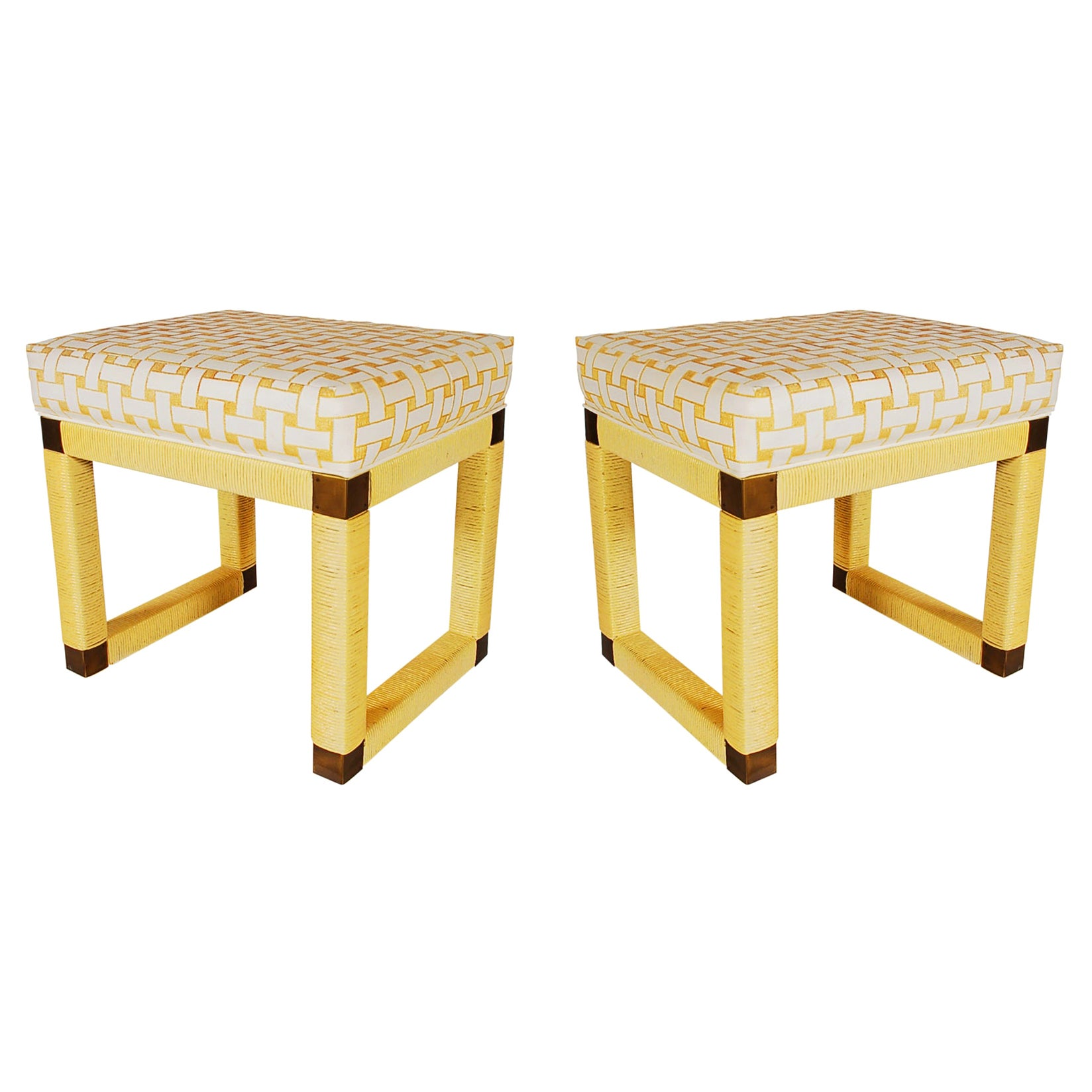 Matching Pair of Midcentury Hollywood Regency Yellow Rattan and Brass Bench Set
