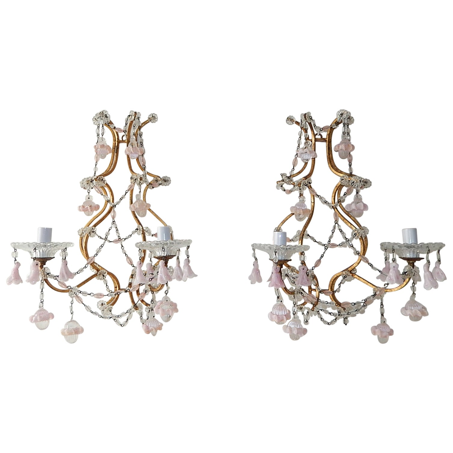 French Pink Opaline Drops with Beads and Crystal Sconces