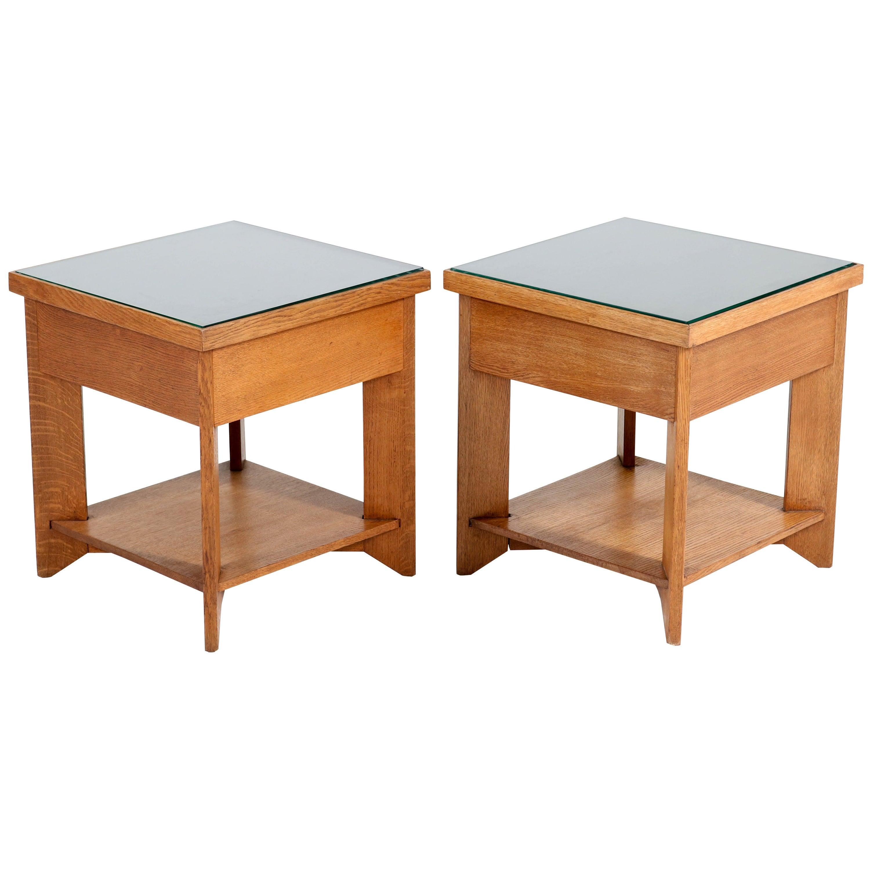 Two Oak Art Deco Haagse School Coffee Tables by Henk Wouda for Pander, 1924