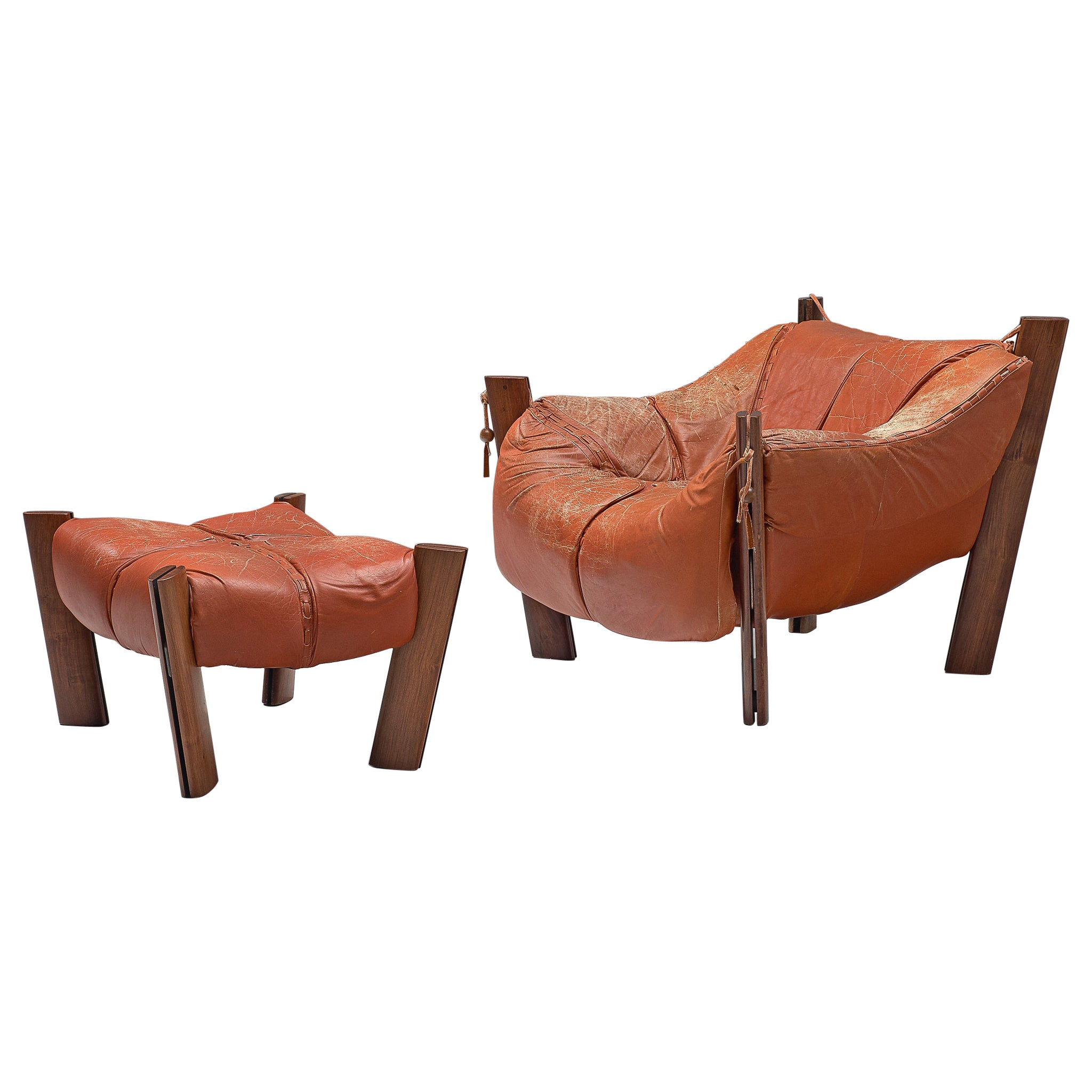 Percival Lafer Lounge Chair with Ottoman and Terracotta Leather