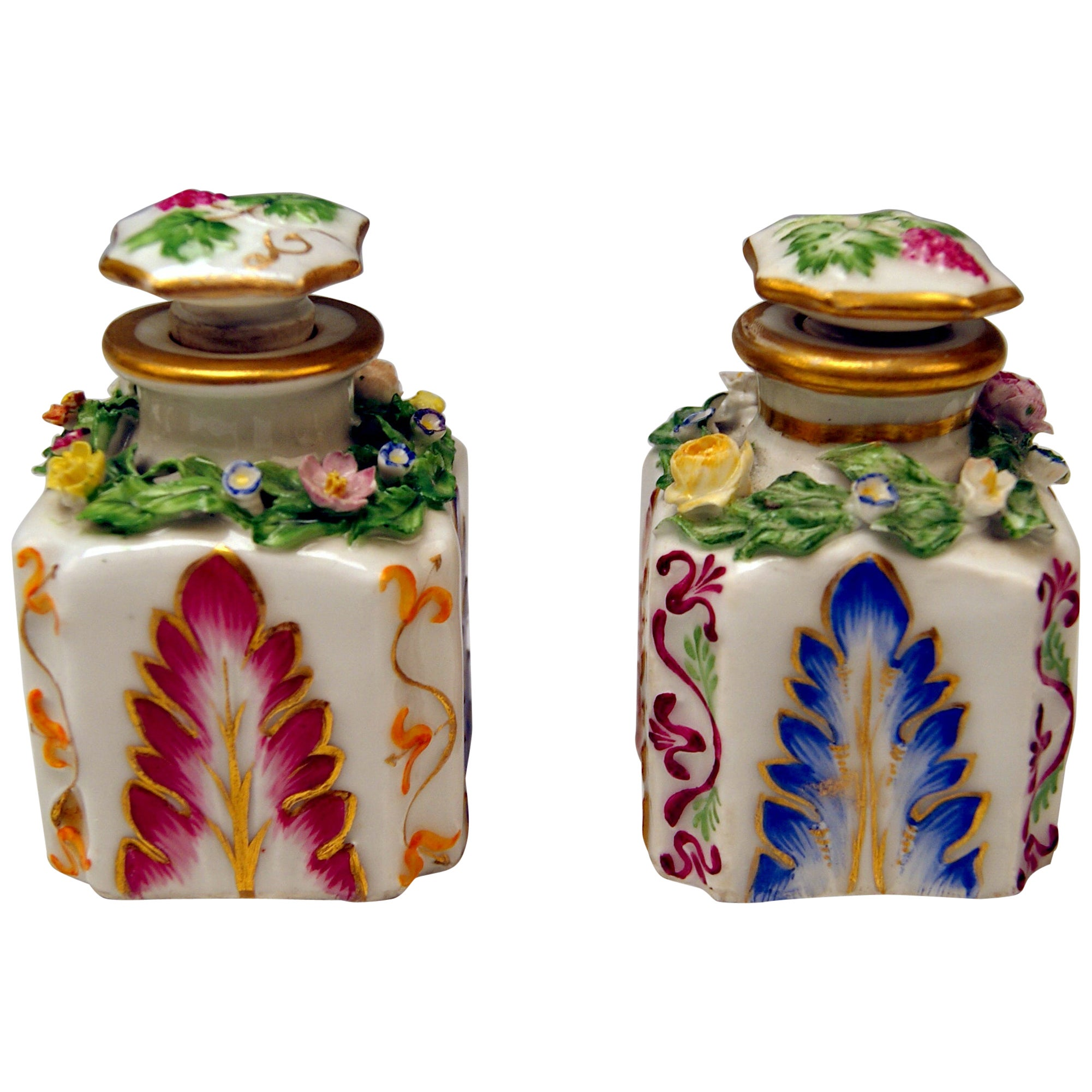 Vienna Imperial Porcelain Pair of Flacons Painted Austria Vienna 1841 and 1844