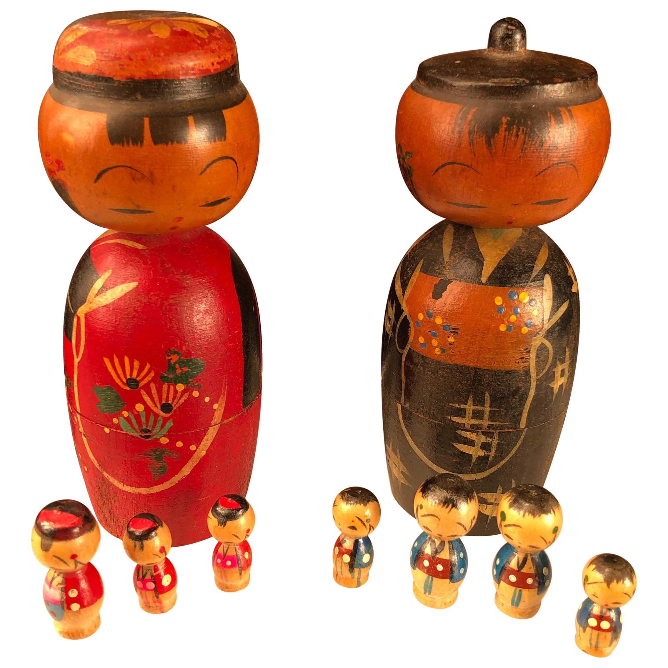 """Japanese Family Nine Old """"Kokeshi Dolls"""" Famous Bobble Heads and Children"""