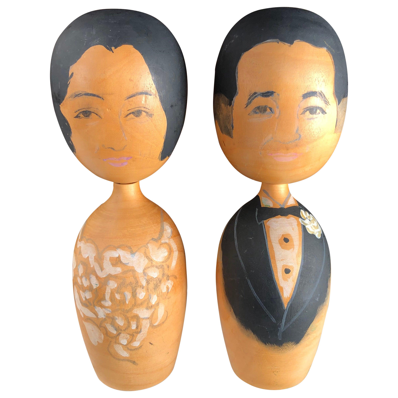 "Japan Extraordinary Big Old ""Bride & Groom"" Kokeshi Dolls Hand Carved Signed"
