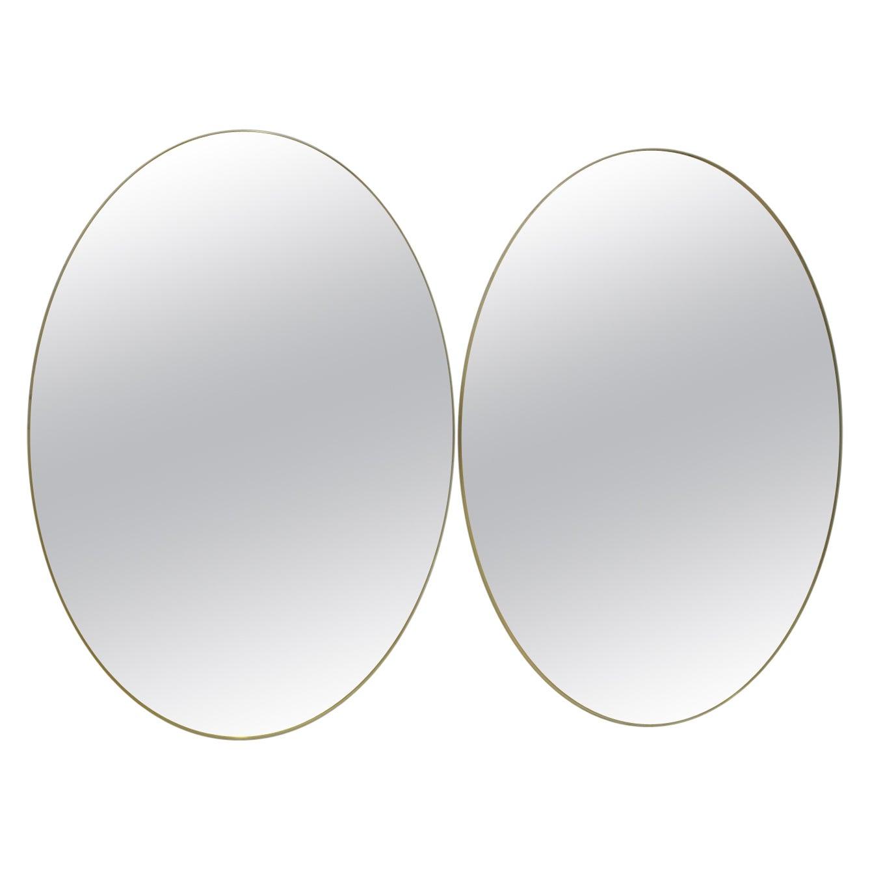 Pair of Mid-Century Modern Italian Oval Mirrors Brass and Bronzed Mirror, 1970