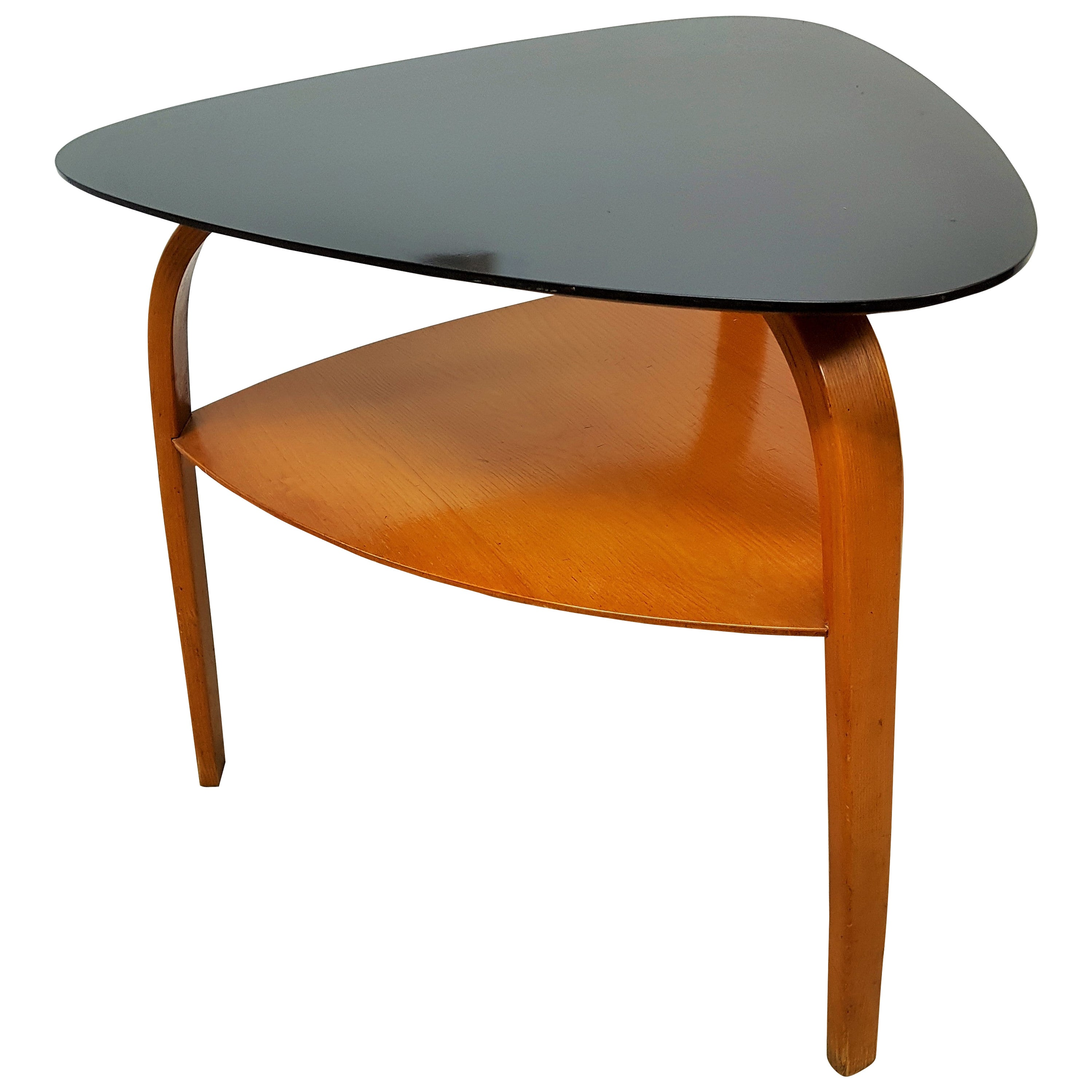 Midcentury Coffee Table Bow Wood by Steiner, France, 1955