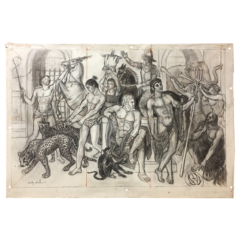 "Charles Real ""circus"", Signed Charcoal Drawing"