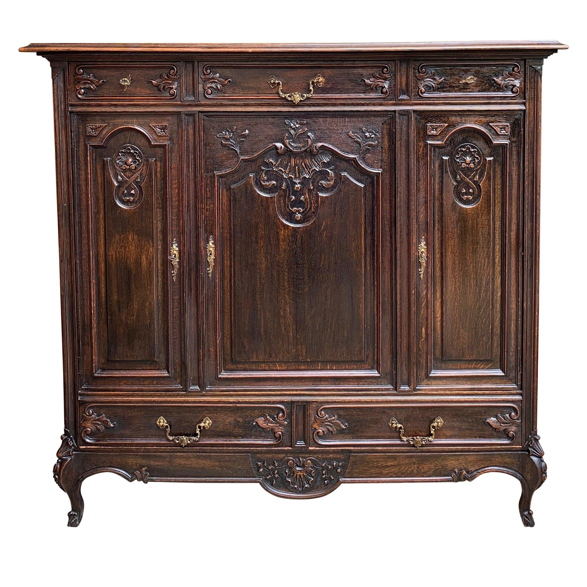 Antique French Carved Dark Oak Sideboard Dresser Cabinet Louis XV Style 'B'