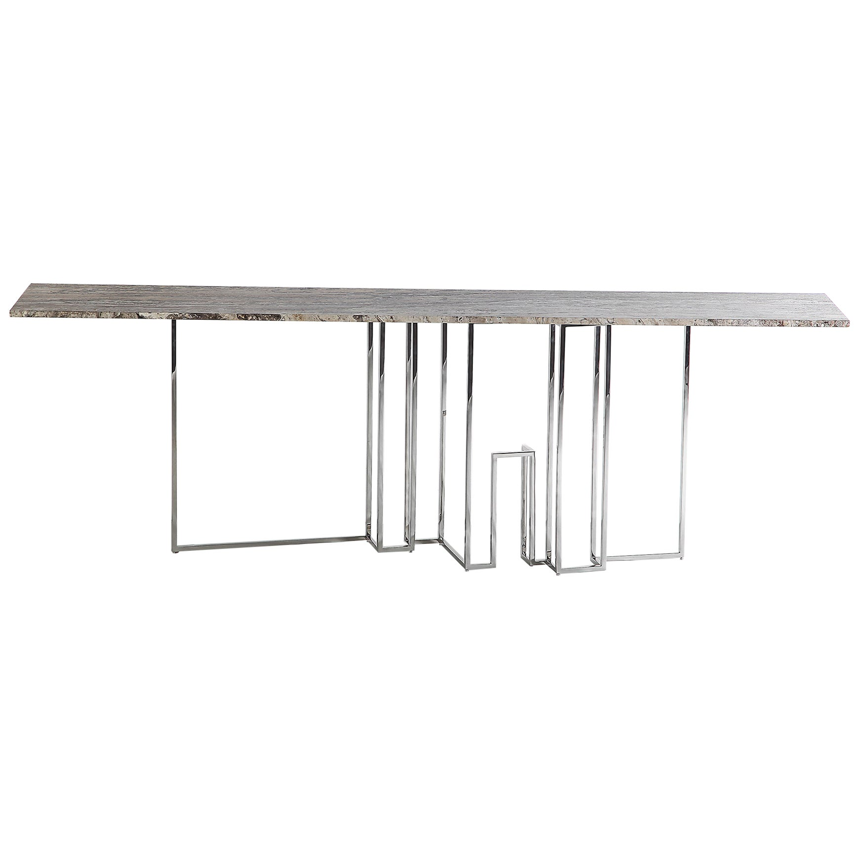 Skyline, Console in Travertine Marble and Hand Polished Stainless Steel