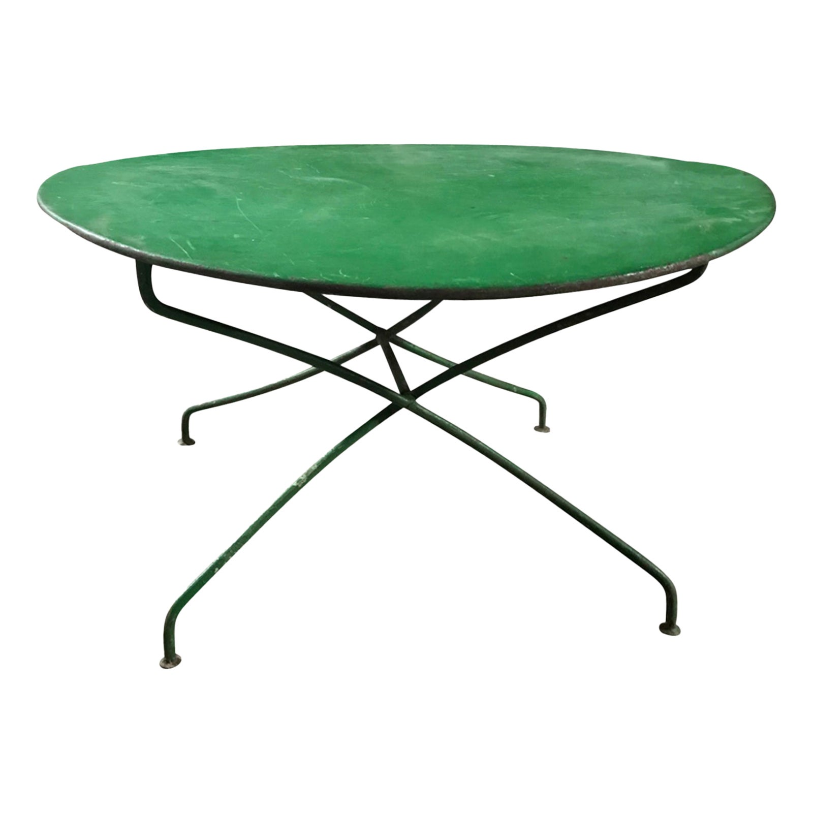 Early 20th Century Old French Iron Garden Table, Green