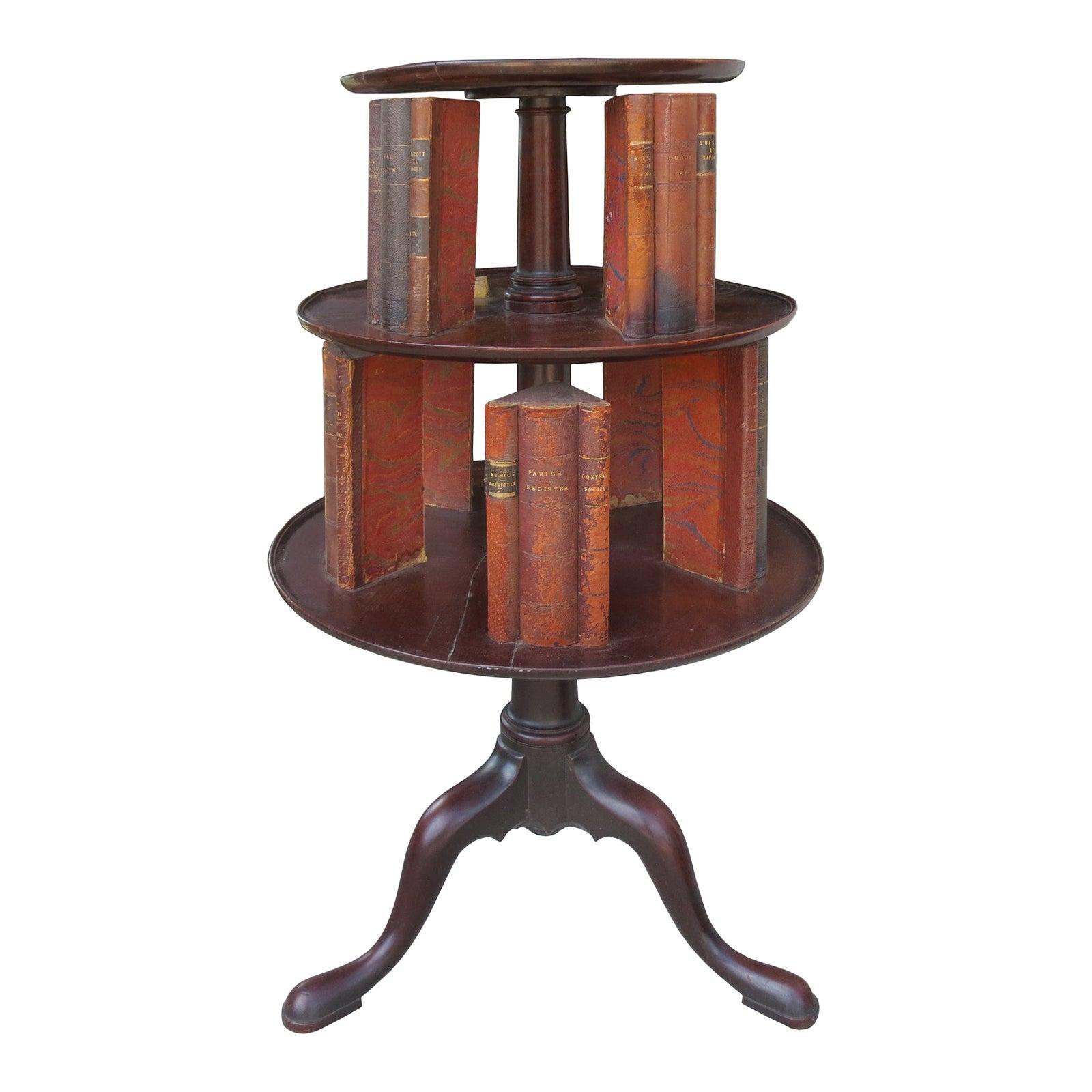 19th Century English Classic Revolving Book Stand, Mahogany