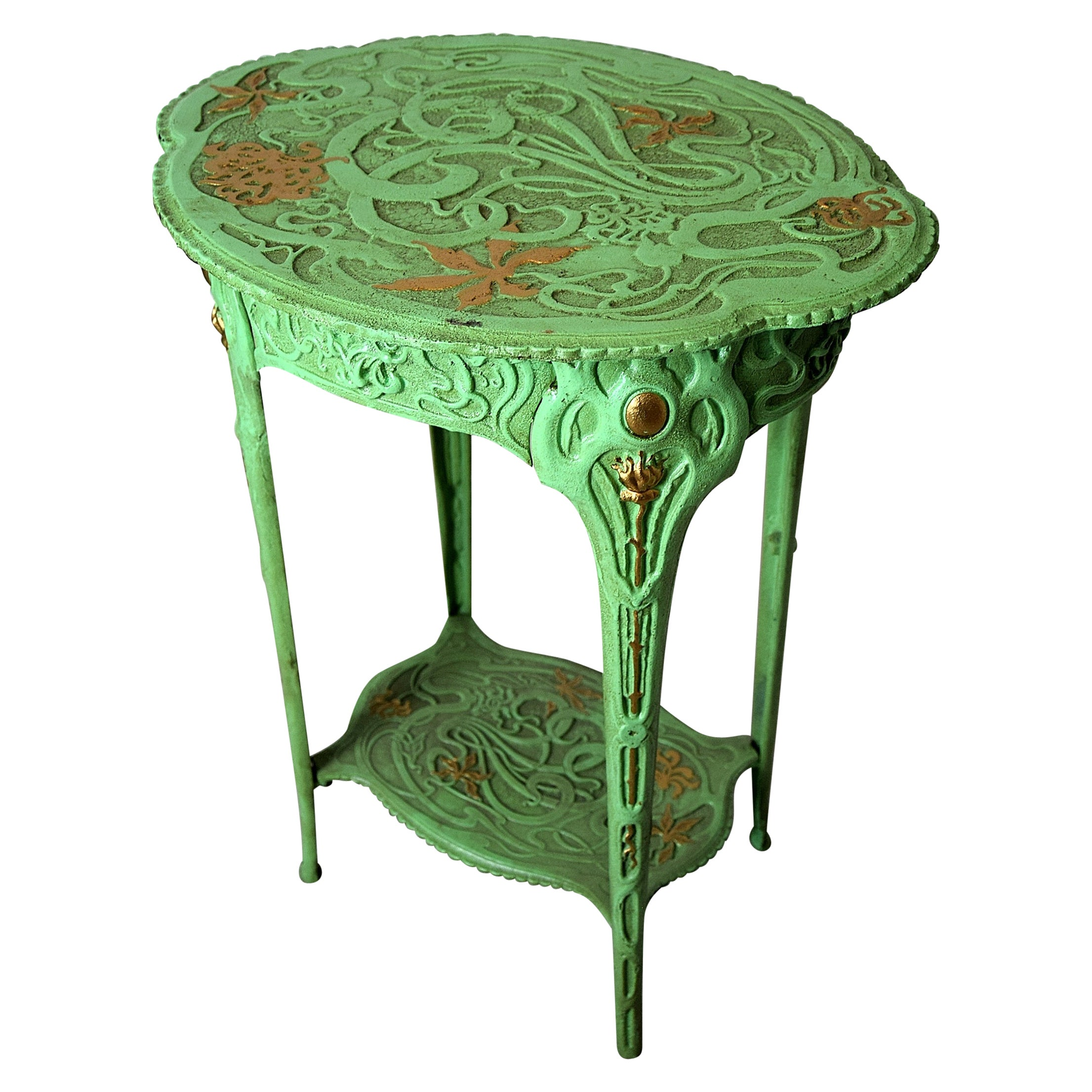 Green and Gold Art Nouveau Cast Iron Side Table